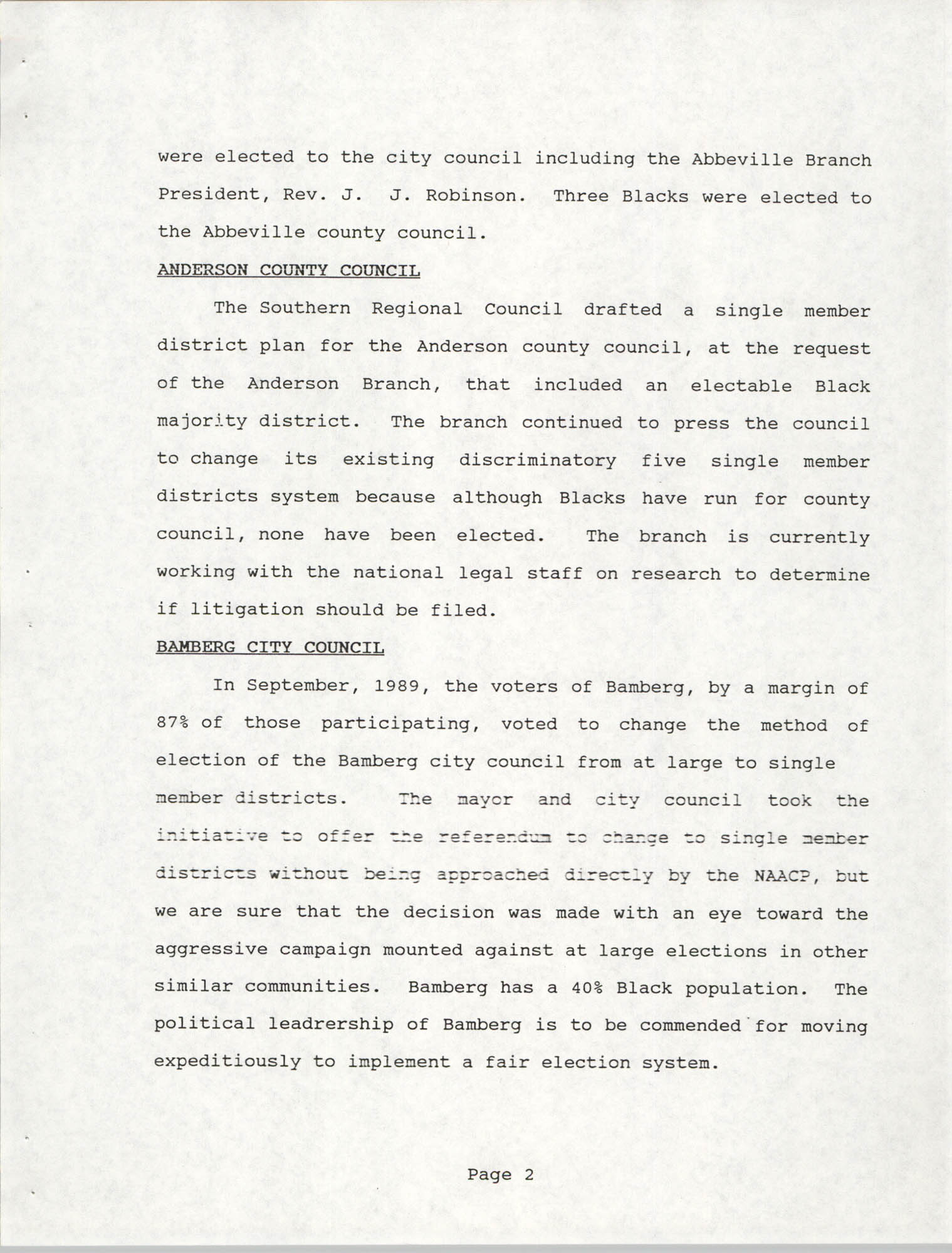South Carolina Conference of Branches of the NAACP, 1990 Annual Report, Part One, Page 2