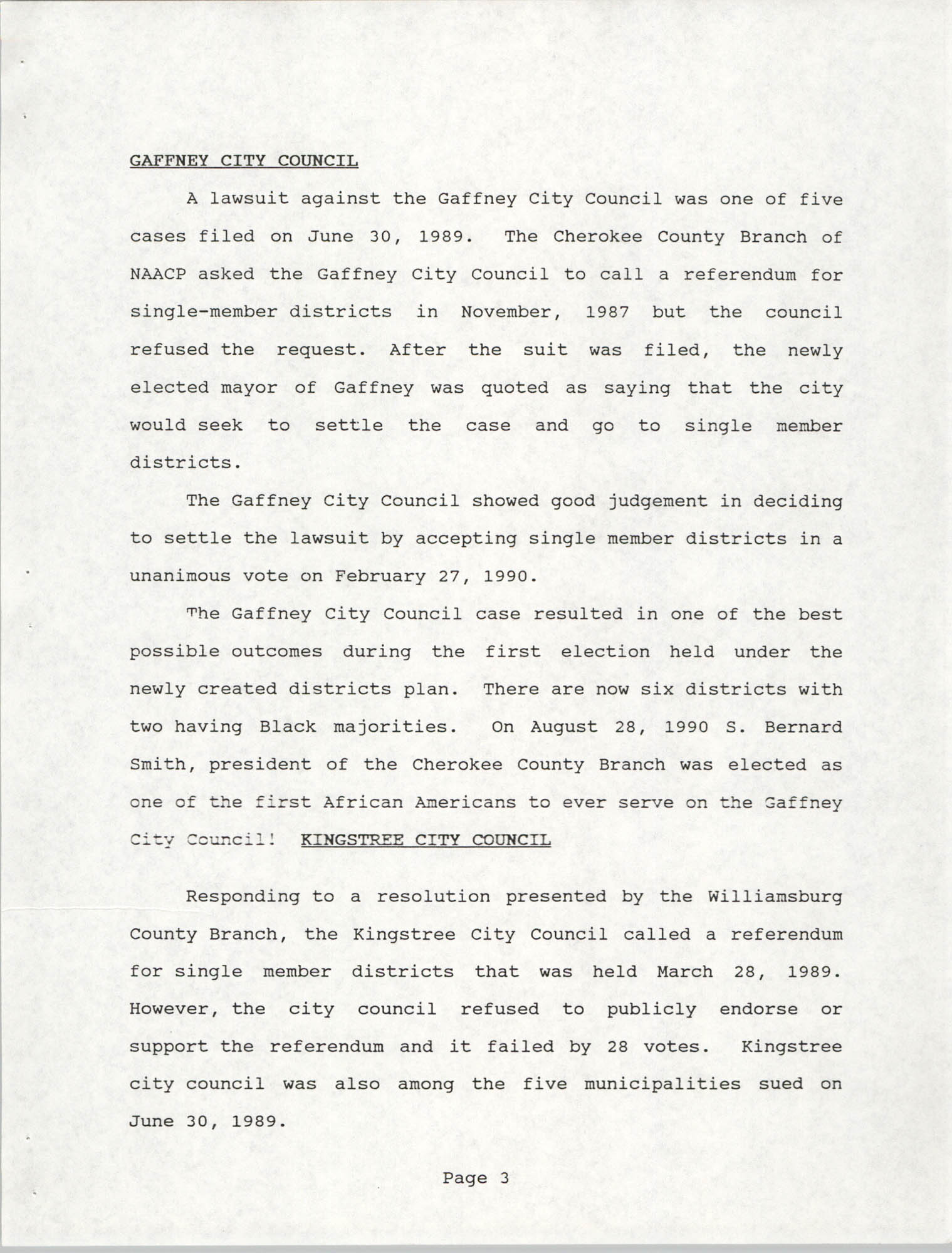 South Carolina Conference of Branches of the NAACP, 1990 Annual Report, Part One, Page 3