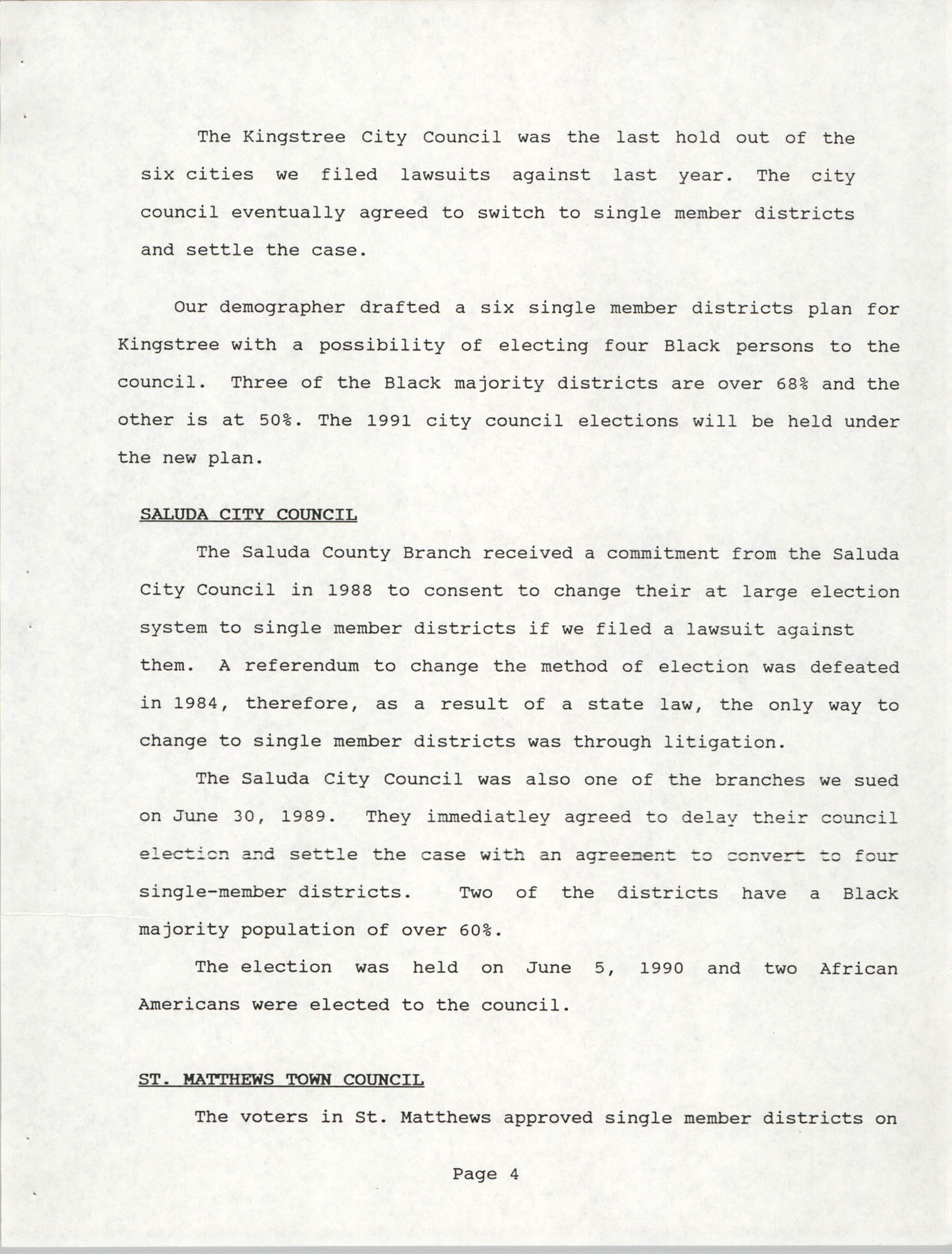 South Carolina Conference of Branches of the NAACP, 1990 Annual Report, Part One, Page 4