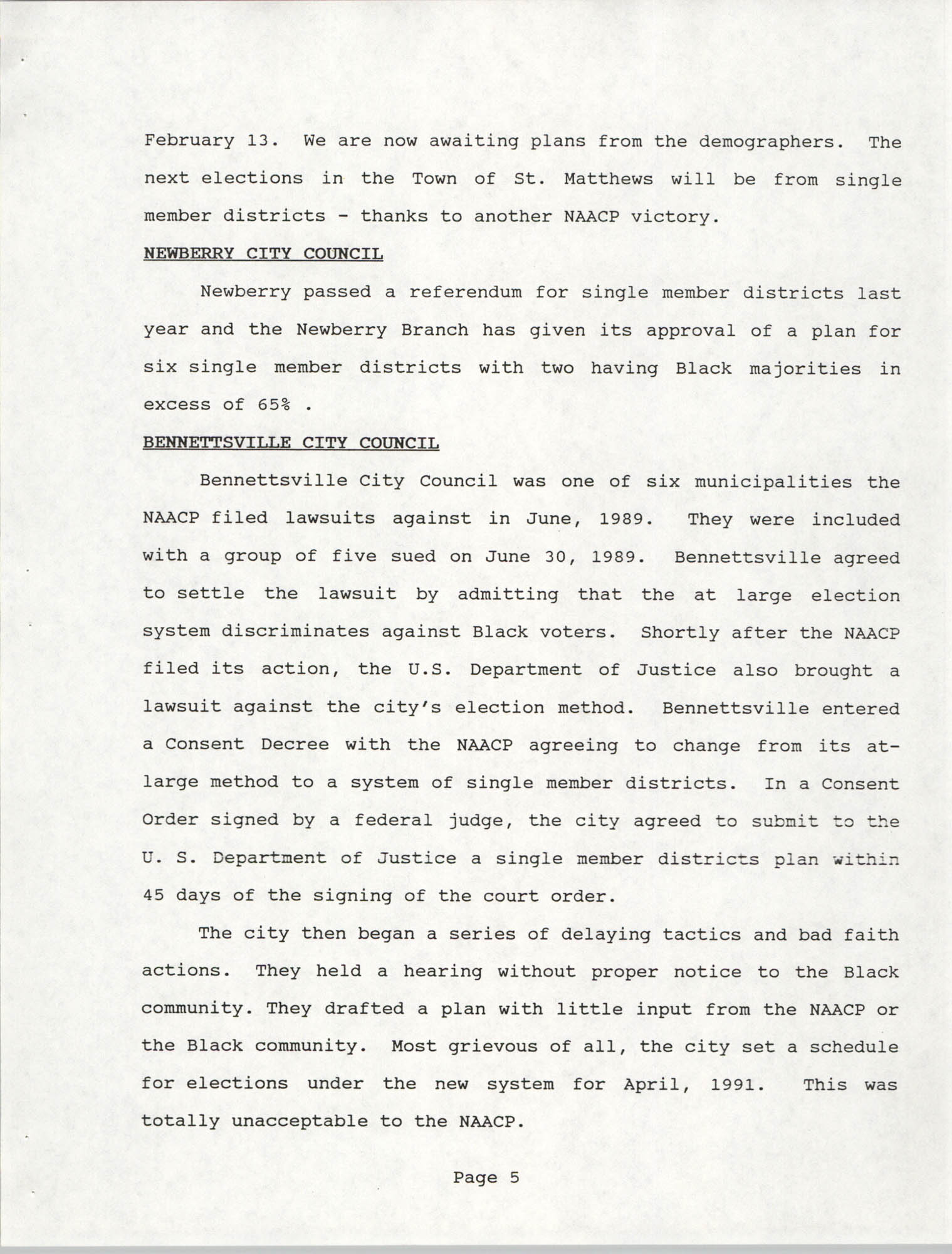 South Carolina Conference of Branches of the NAACP, 1990 Annual Report, Part One, Page 5