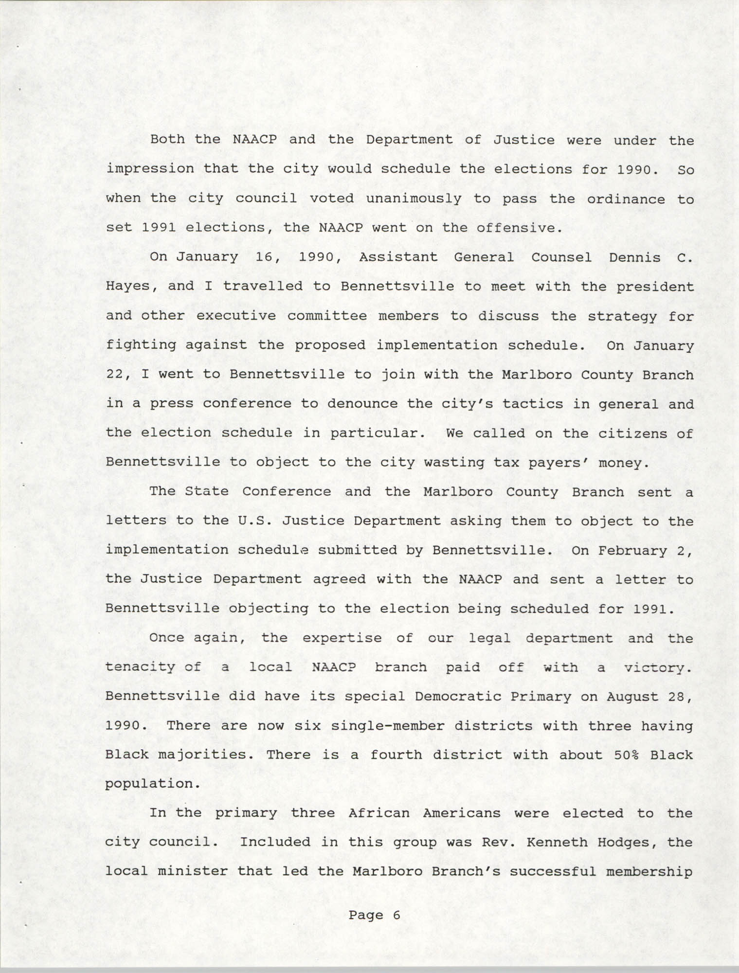 South Carolina Conference of Branches of the NAACP, 1990 Annual Report, Part One, Page 6