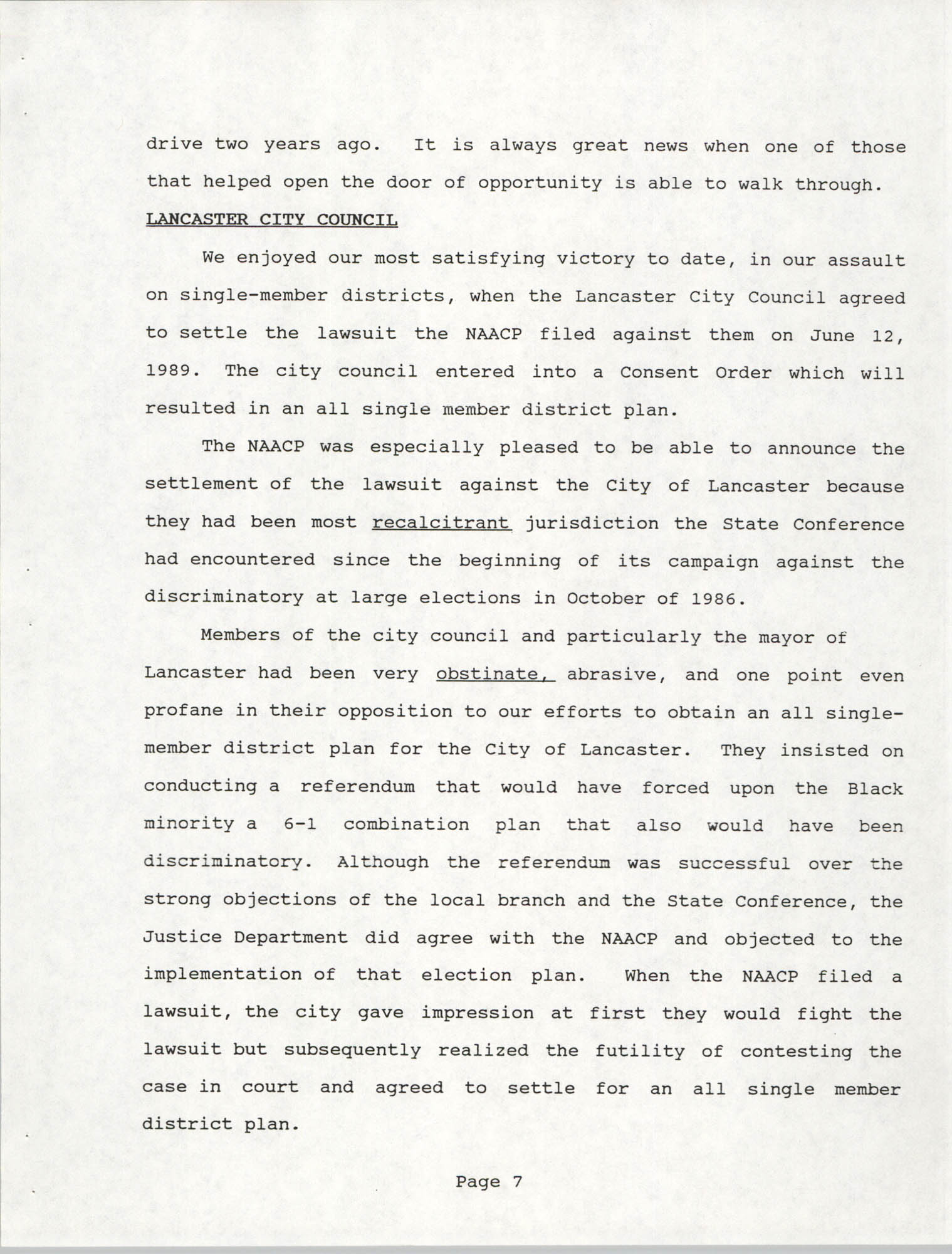 South Carolina Conference of Branches of the NAACP, 1990 Annual Report, Part One, Page 7