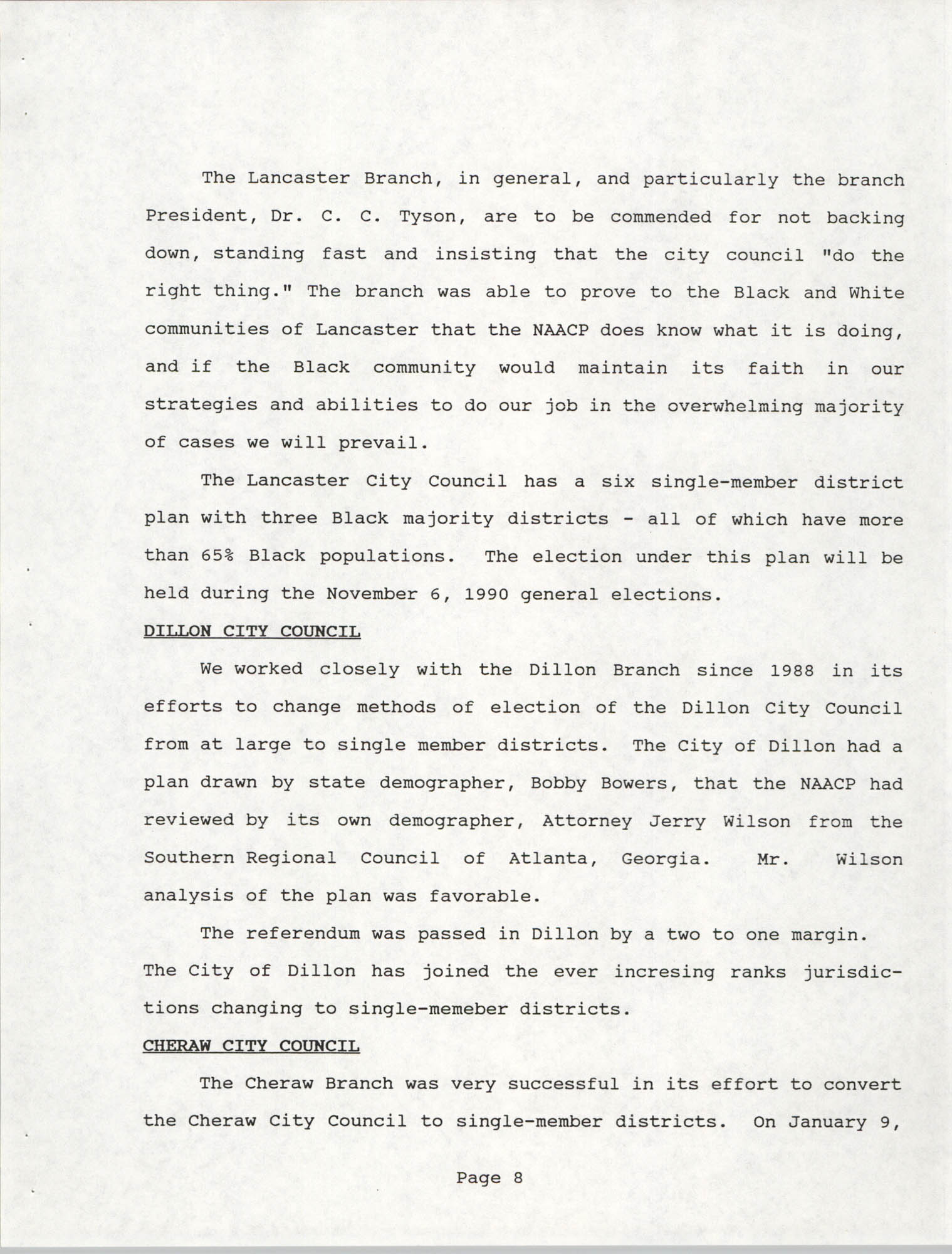 South Carolina Conference of Branches of the NAACP, 1990 Annual Report, Part One, Page 8