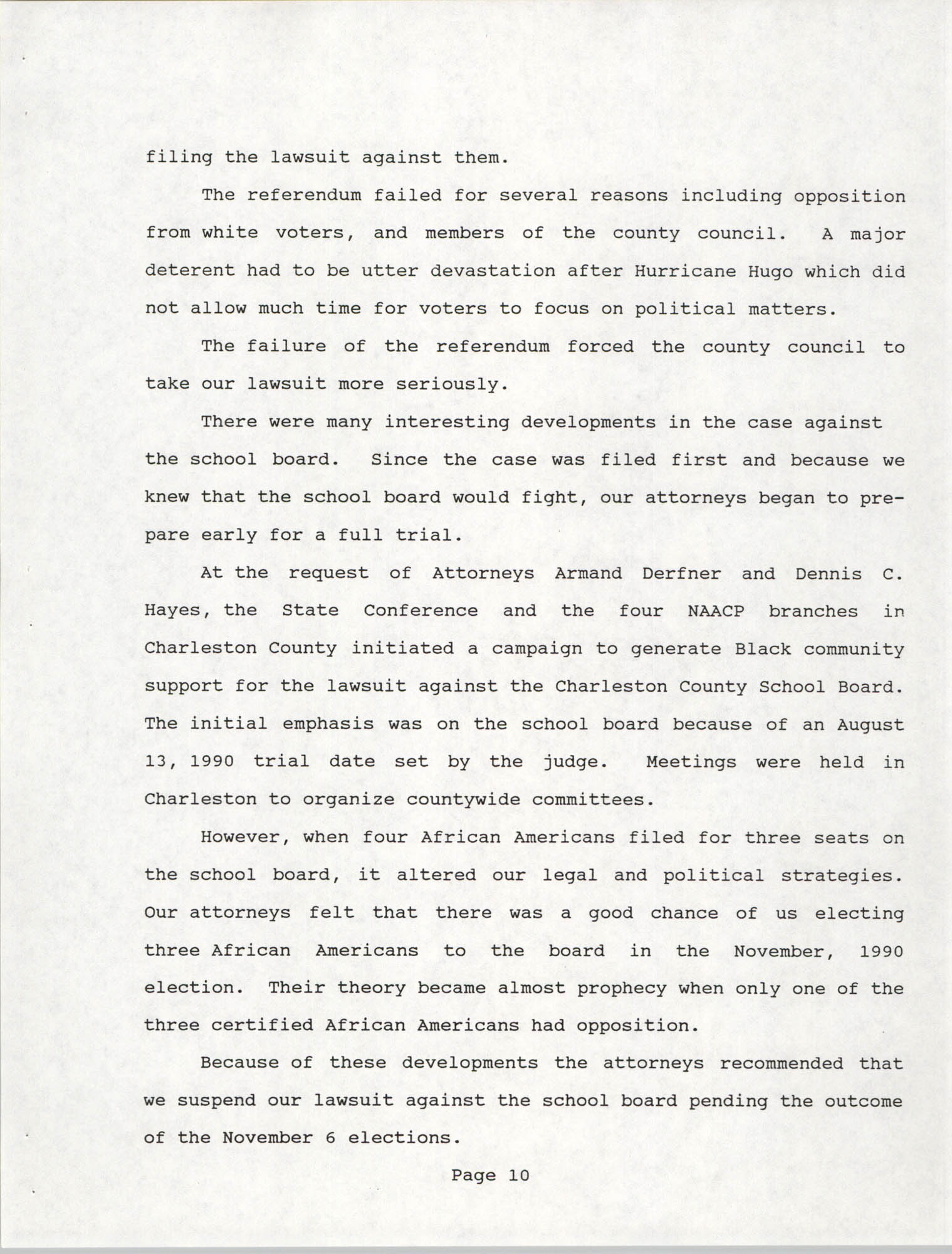 South Carolina Conference of Branches of the NAACP, 1990 Annual Report, Part One, Page 10