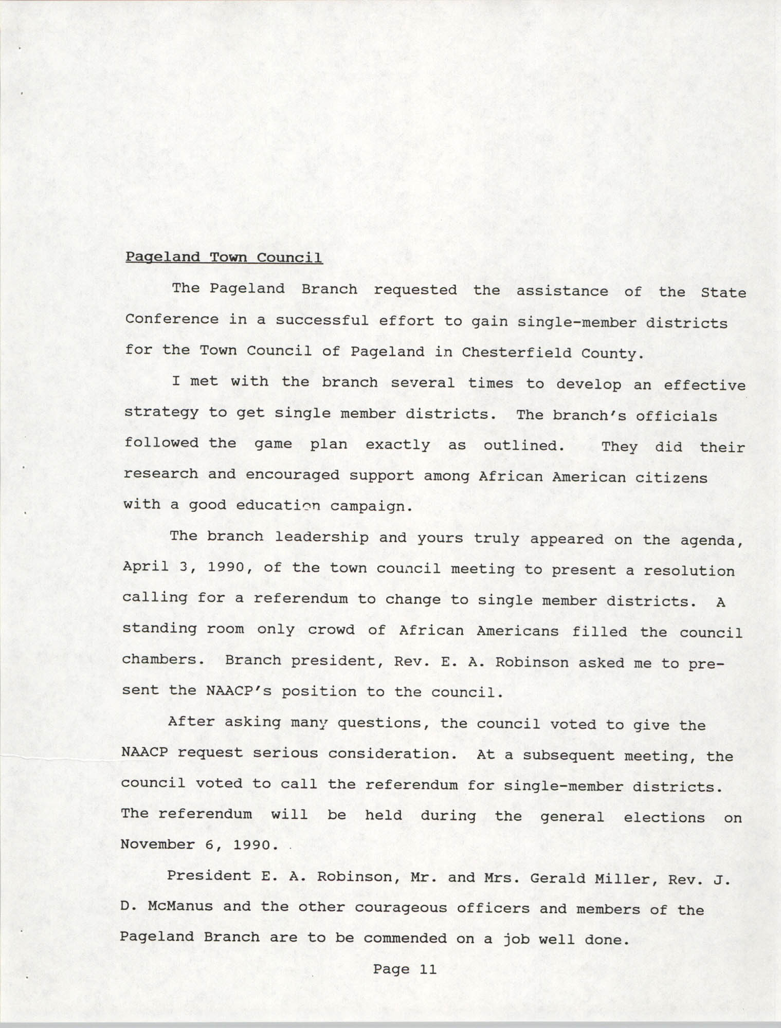 South Carolina Conference of Branches of the NAACP, 1990 Annual Report, Part One, Page 11