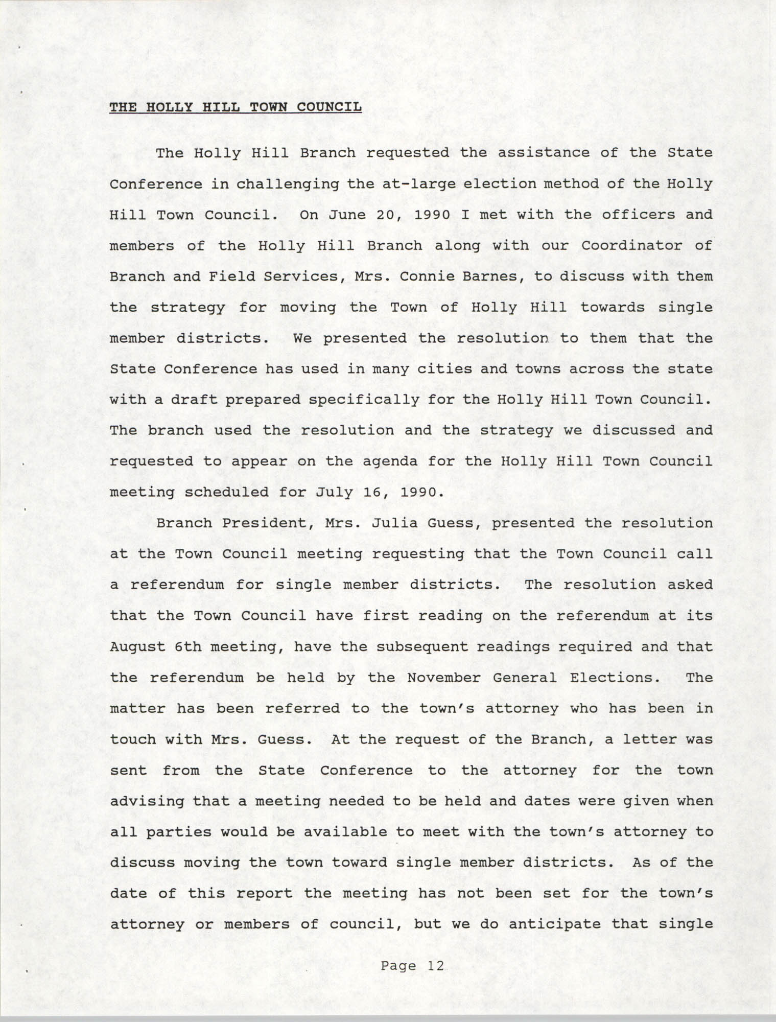 South Carolina Conference of Branches of the NAACP, 1990 Annual Report, Part One, Page 12