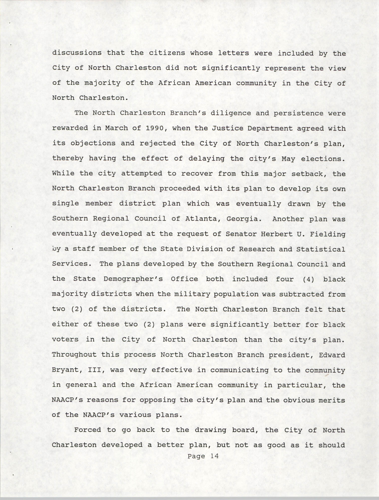 South Carolina Conference of Branches of the NAACP, 1990 Annual Report, Part One, Page 14