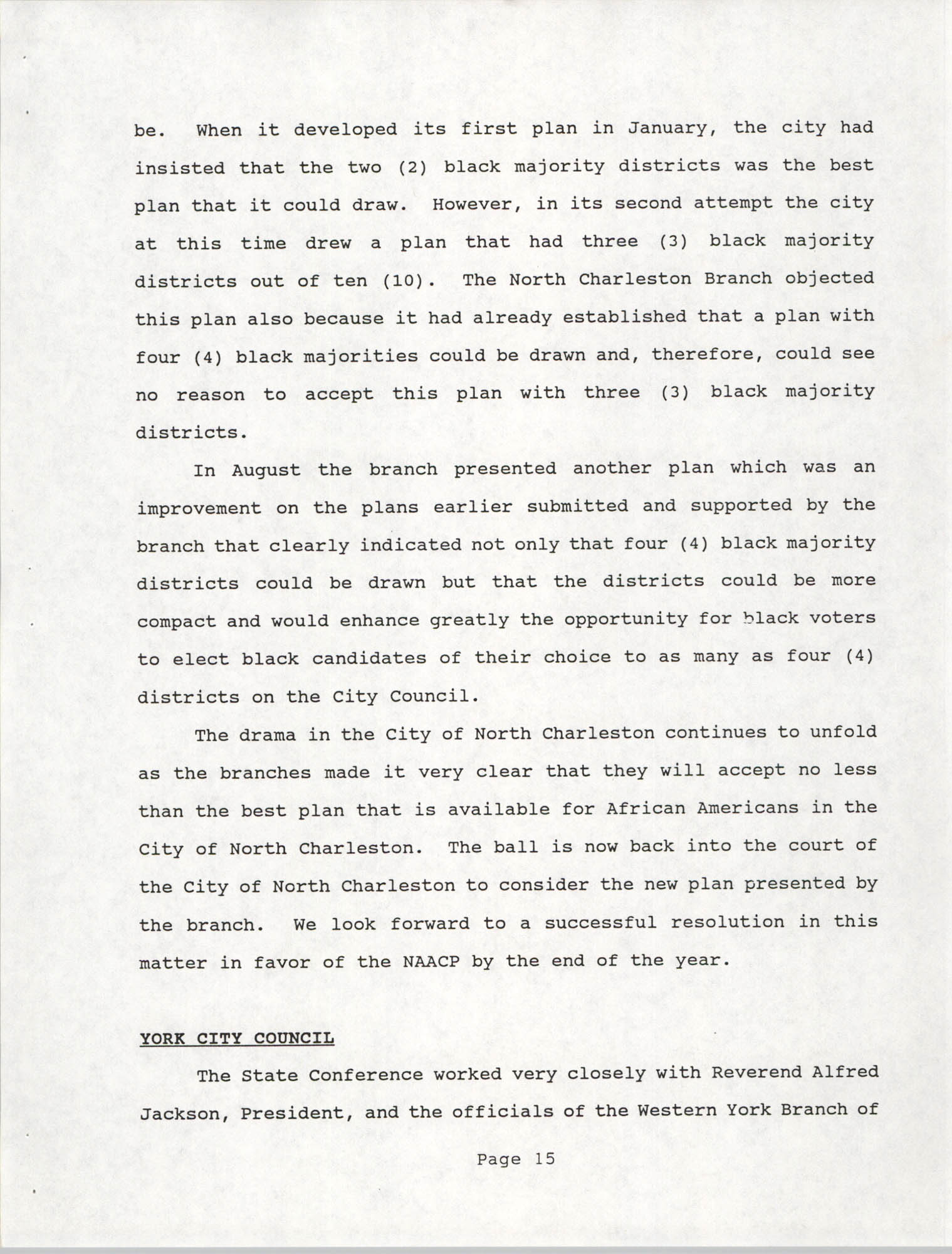 South Carolina Conference of Branches of the NAACP, 1990 Annual Report, Part One, Page 15