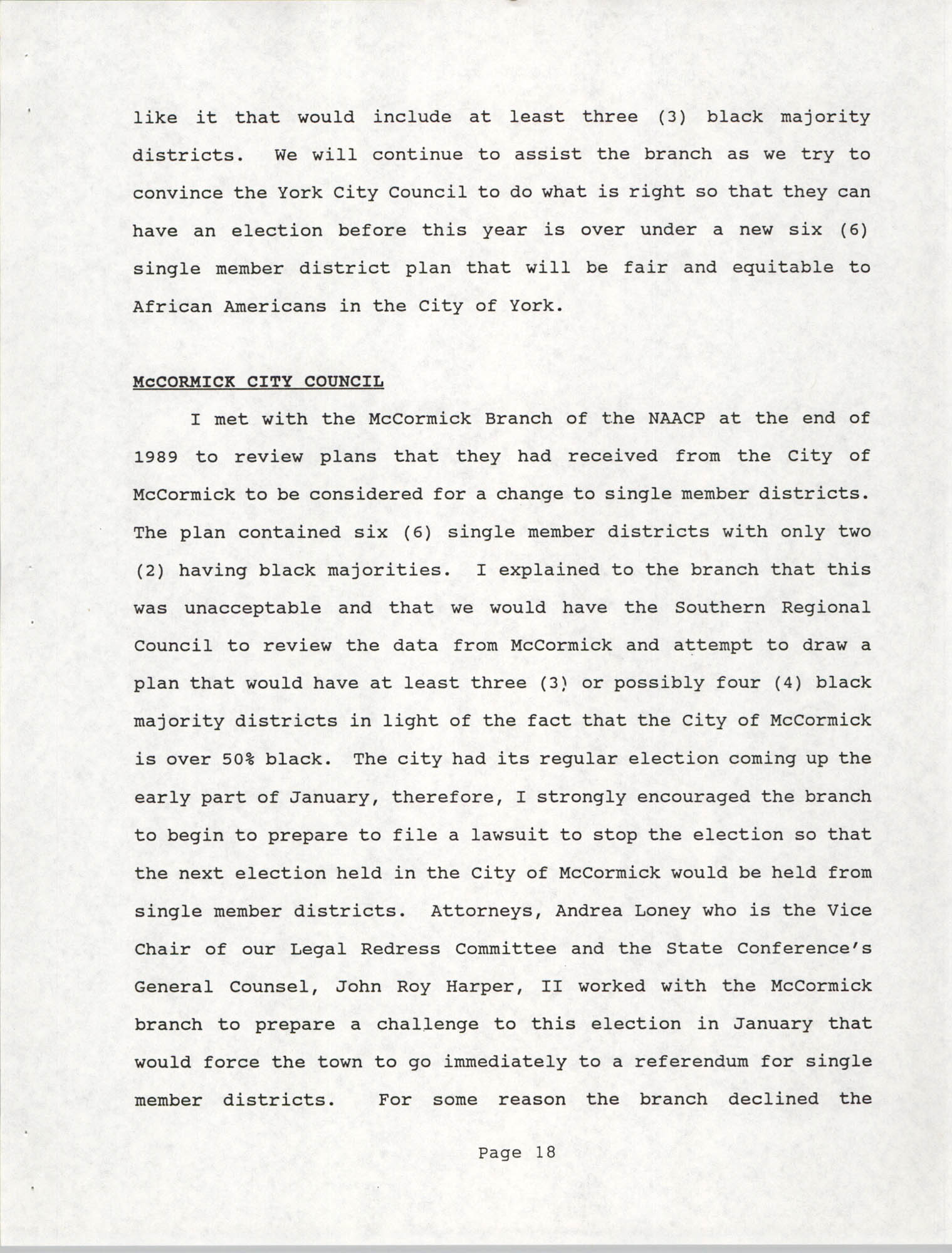 South Carolina Conference of Branches of the NAACP, 1990 Annual Report, Part One, Page 18