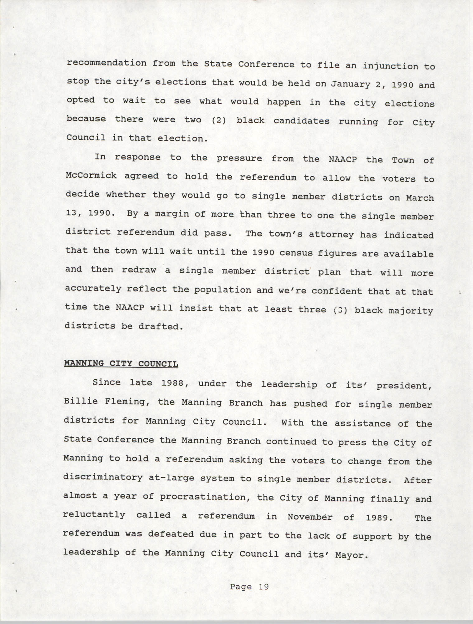 South Carolina Conference of Branches of the NAACP, 1990 Annual Report, Part One, Page 19
