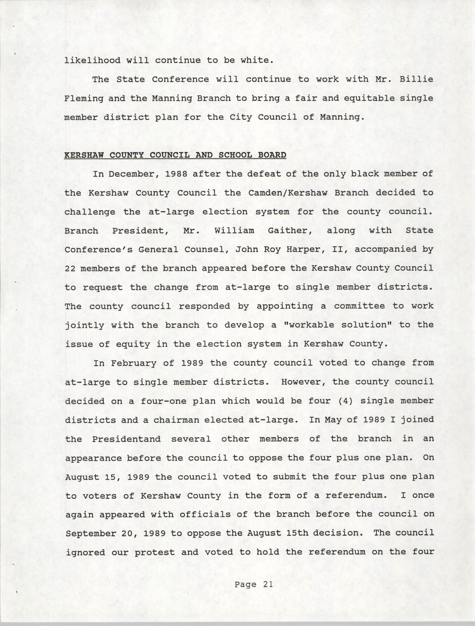 South Carolina Conference of Branches of the NAACP, 1990 Annual Report, Part One, Page 21