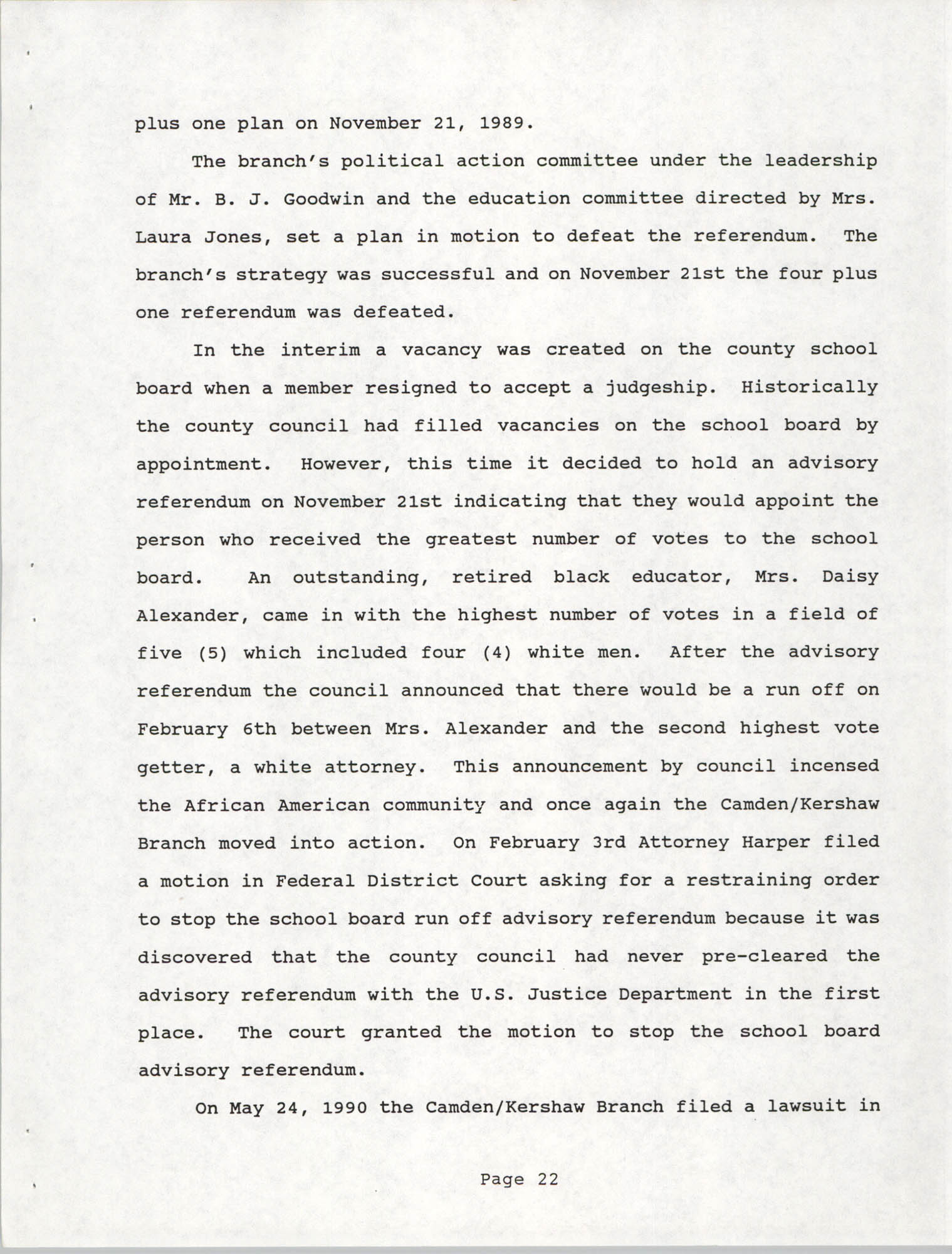 South Carolina Conference of Branches of the NAACP, 1990 Annual Report, Part One, Page 22