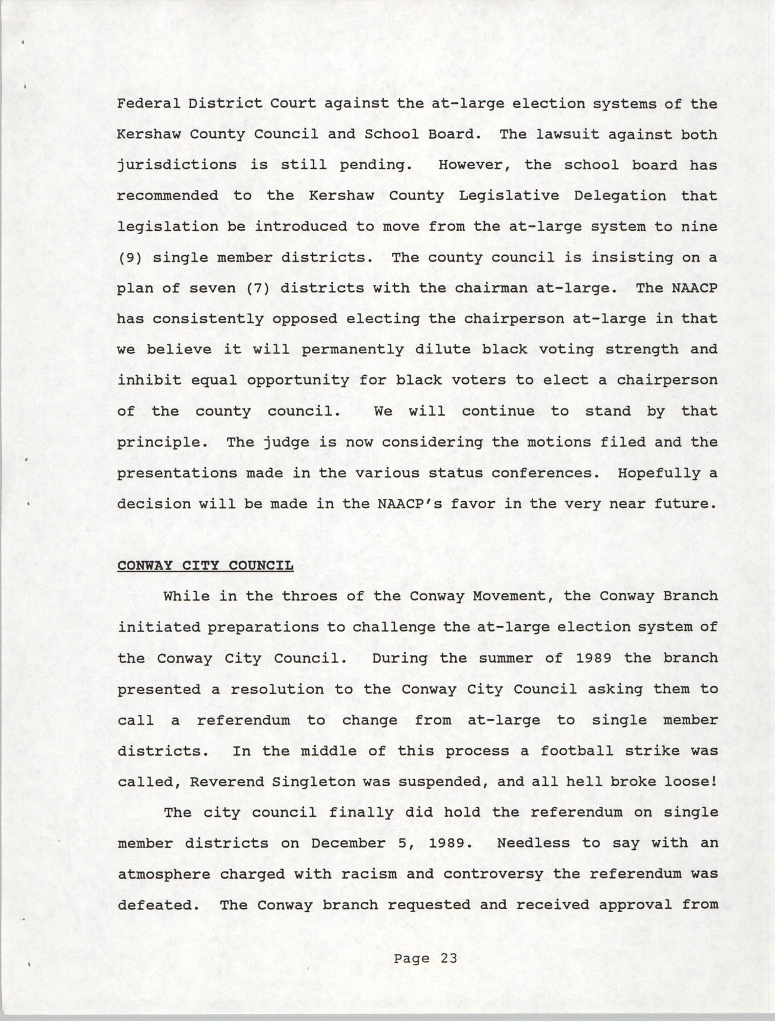 South Carolina Conference of Branches of the NAACP, 1990 Annual Report, Part One, Page 23