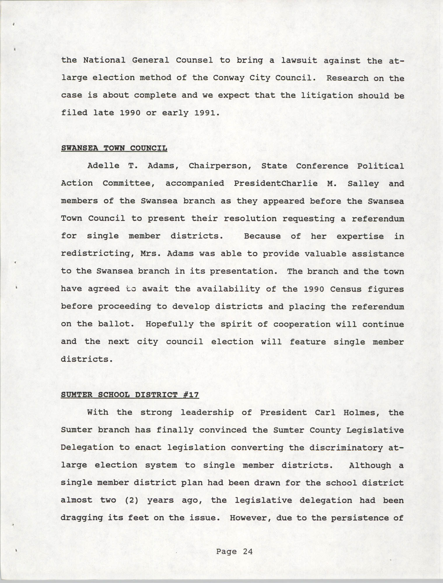 South Carolina Conference of Branches of the NAACP, 1990 Annual Report, Part One, Page 24