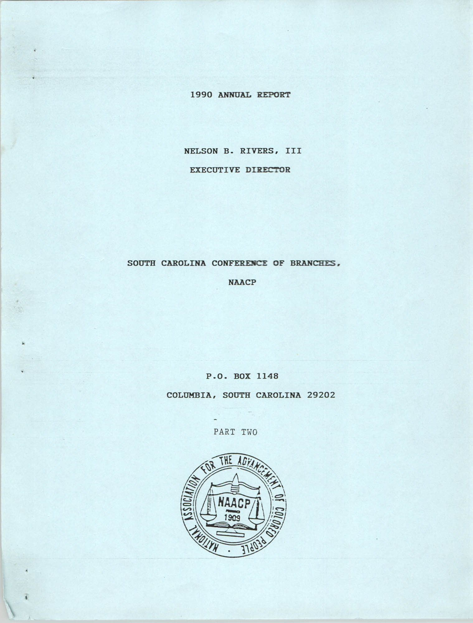 South Carolina Conference of Branches of the NAACP, 1990 Annual Report, Part Two, Front Cover