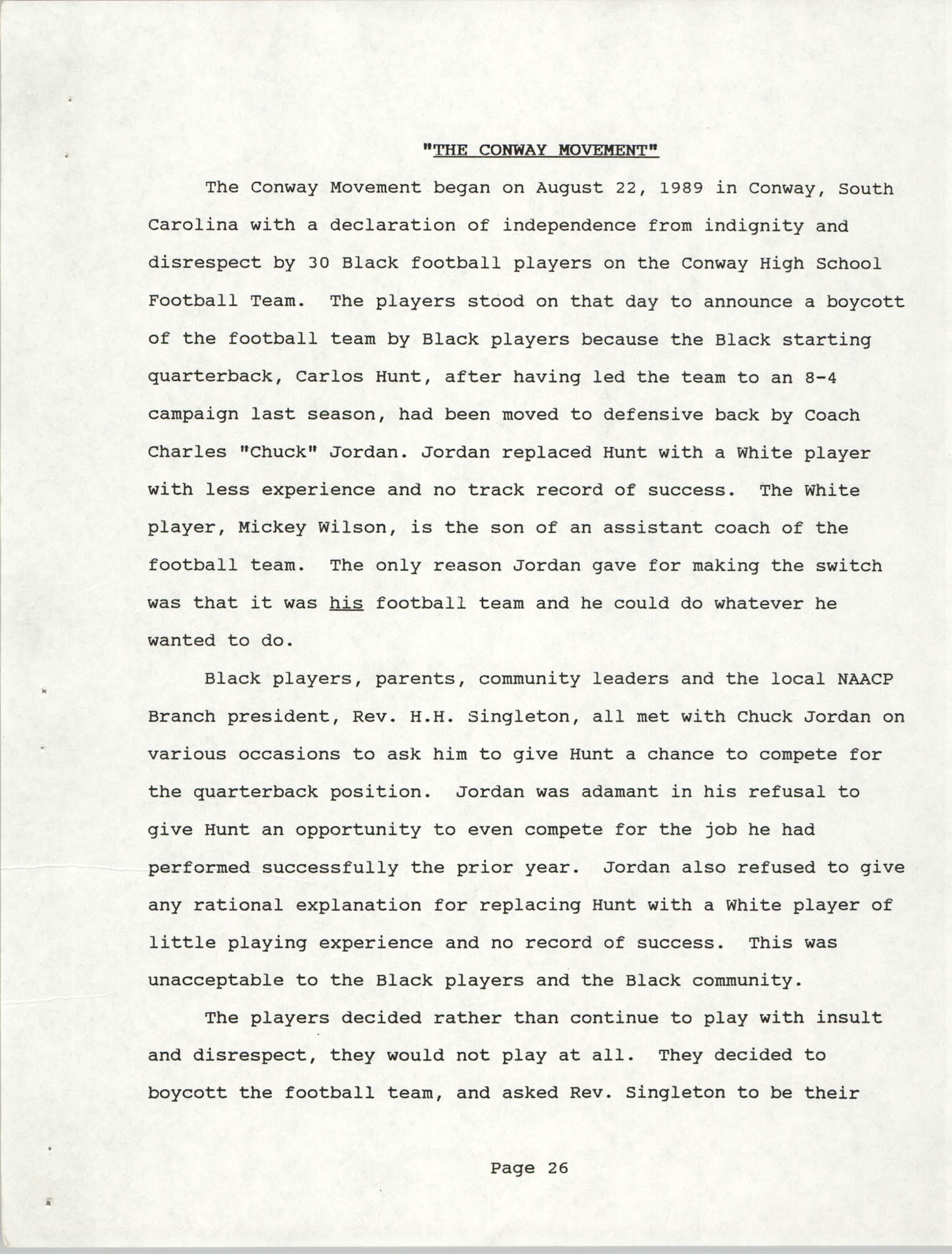 South Carolina Conference of Branches of the NAACP, 1990 Annual Report, Part Two, Page 26