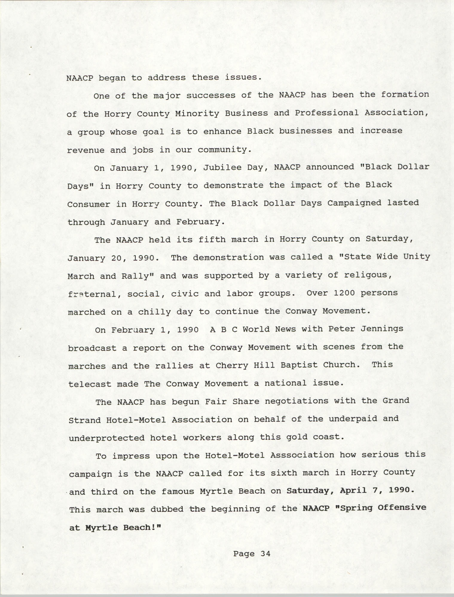 South Carolina Conference of Branches of the NAACP, 1990 Annual Report, Part Two, Page 34