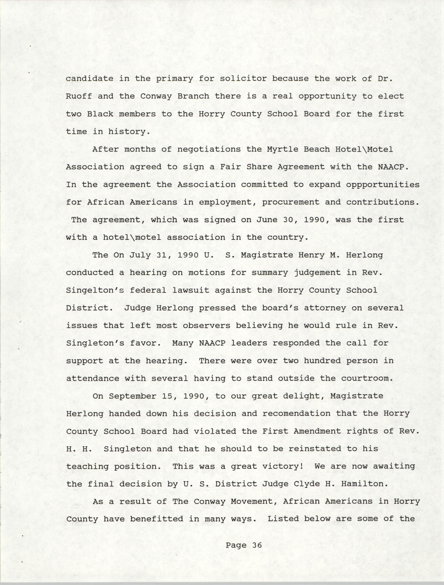 South Carolina Conference of Branches of the NAACP, 1990 Annual Report, Part Two, Page 36