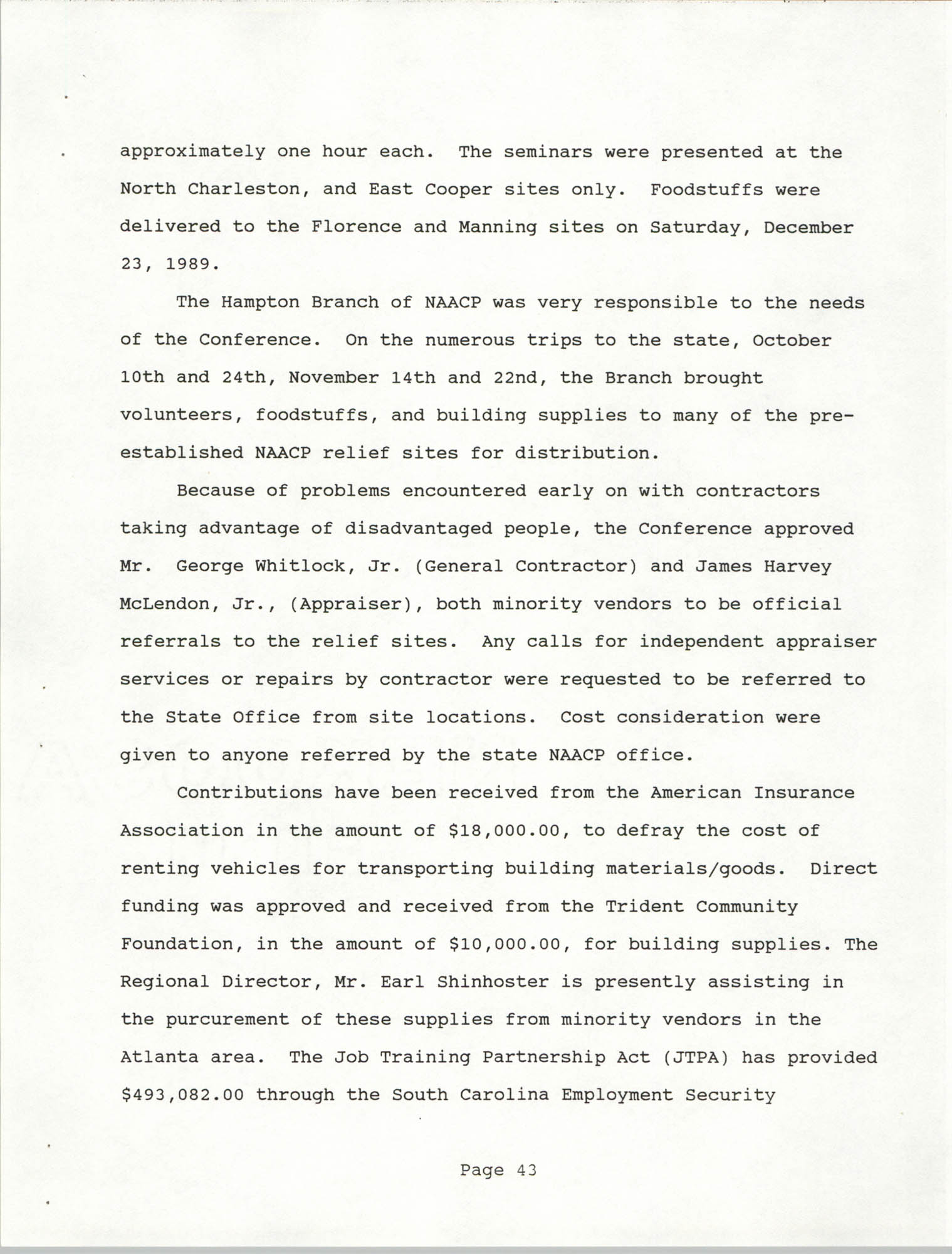 South Carolina Conference of Branches of the NAACP, 1990 Annual Report, Part Two, Page 43