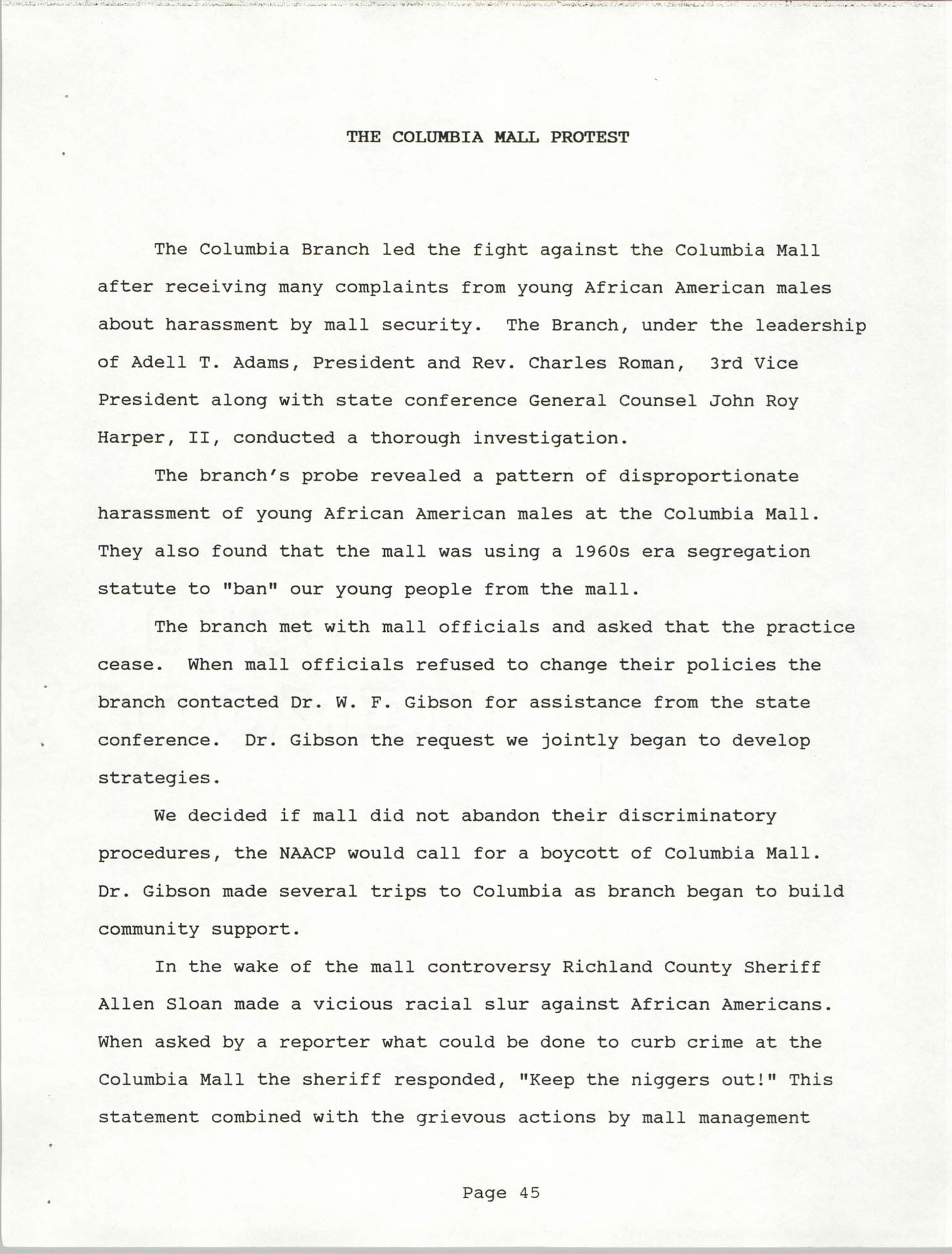 South Carolina Conference of Branches of the NAACP, 1990 Annual Report, Part Two, Page 45