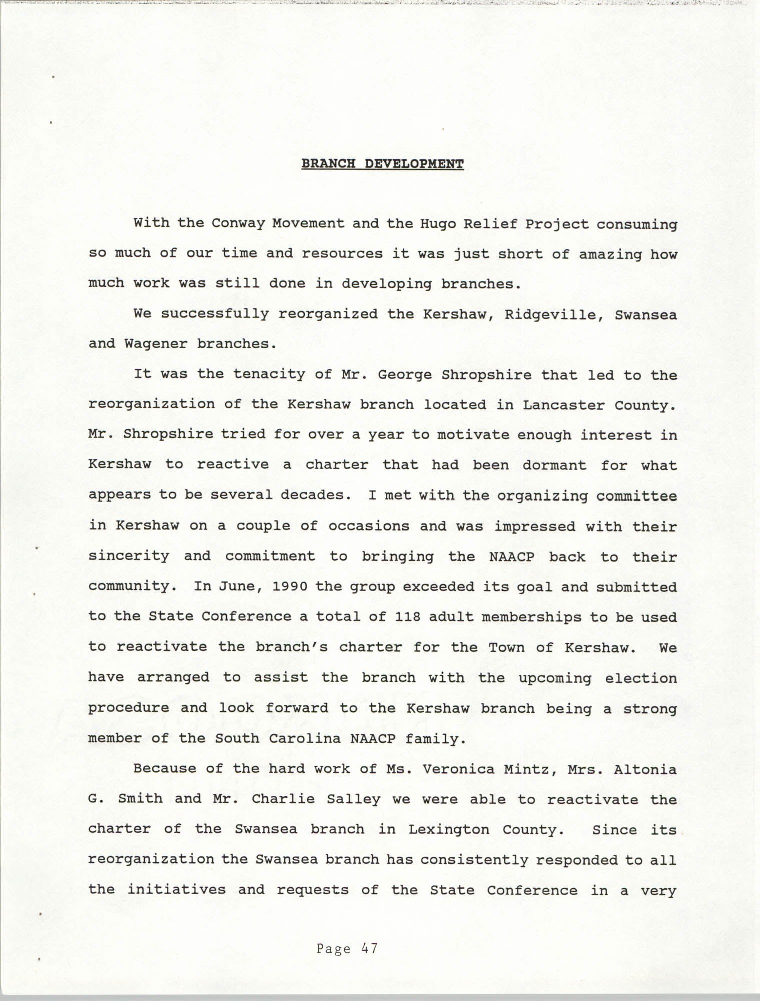 South Carolina Conference of Branches of the NAACP, 1990 Annual Report, Part Two, Page 47