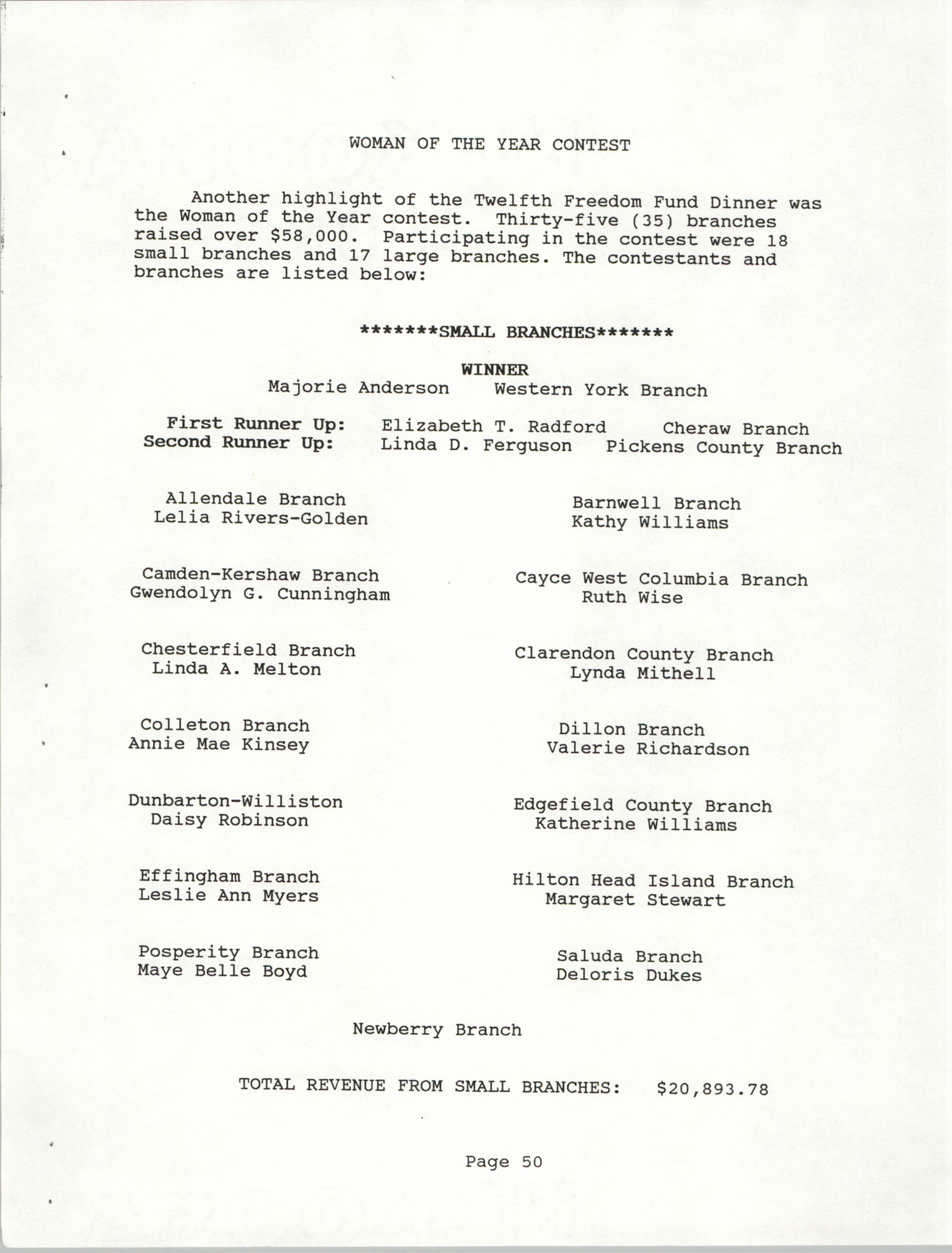South Carolina Conference of Branches of the NAACP, 1990 Annual Report, Part Two, Page 50