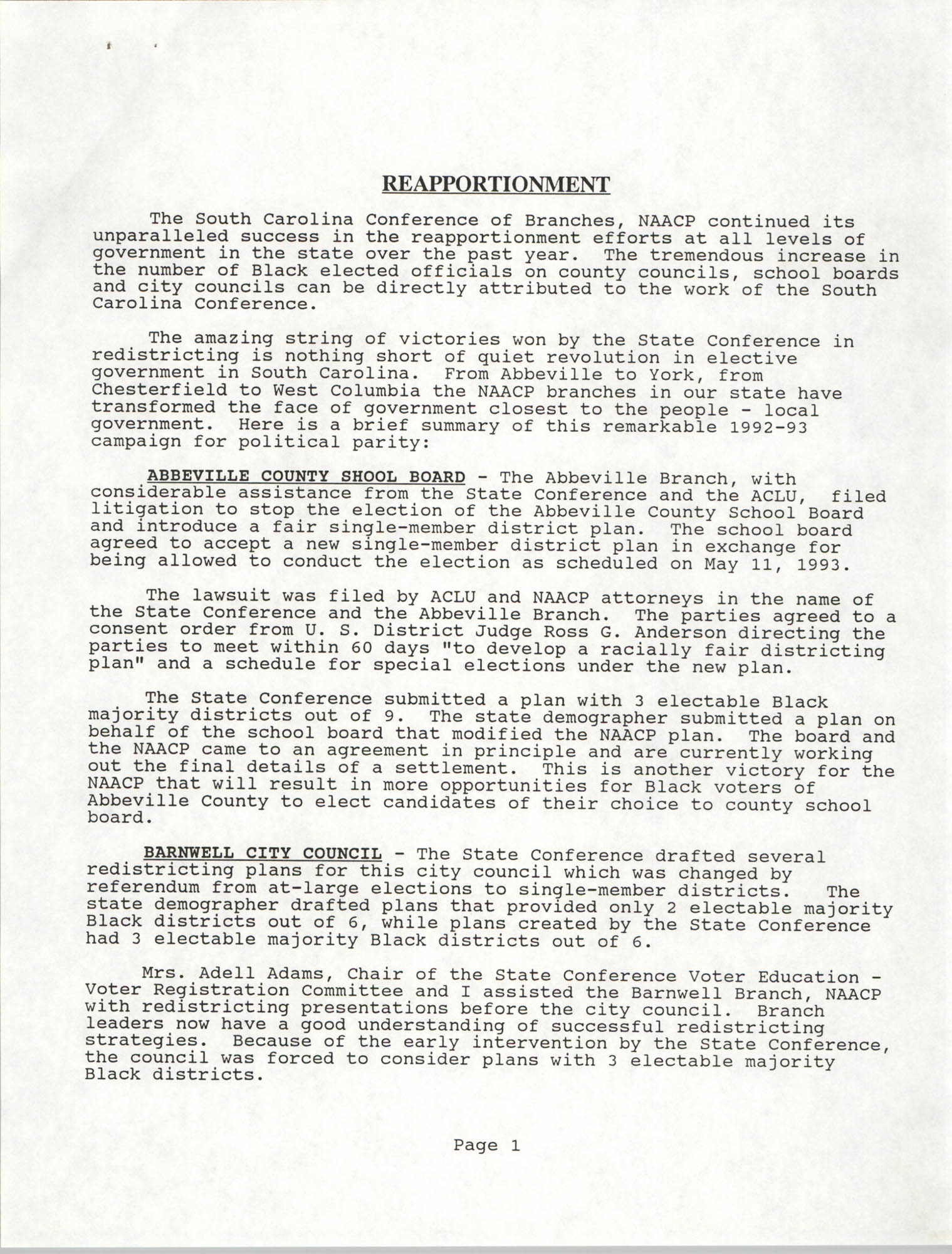 South Carolina Conference of Branches of the NAACP, Annual Report, October 9, 1993, Page 1