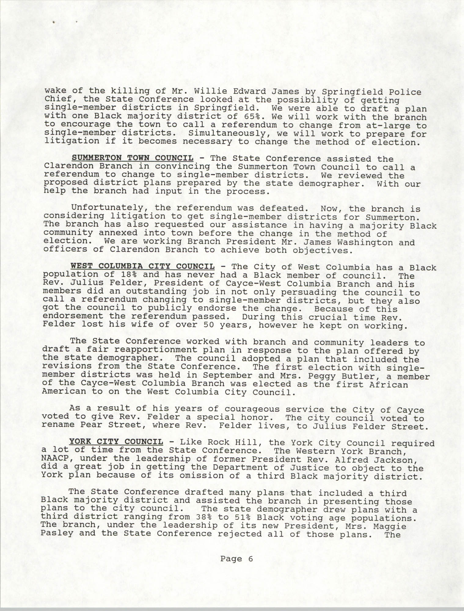 South Carolina Conference of Branches of the NAACP, Annual Report, October 9, 1993, Page 6