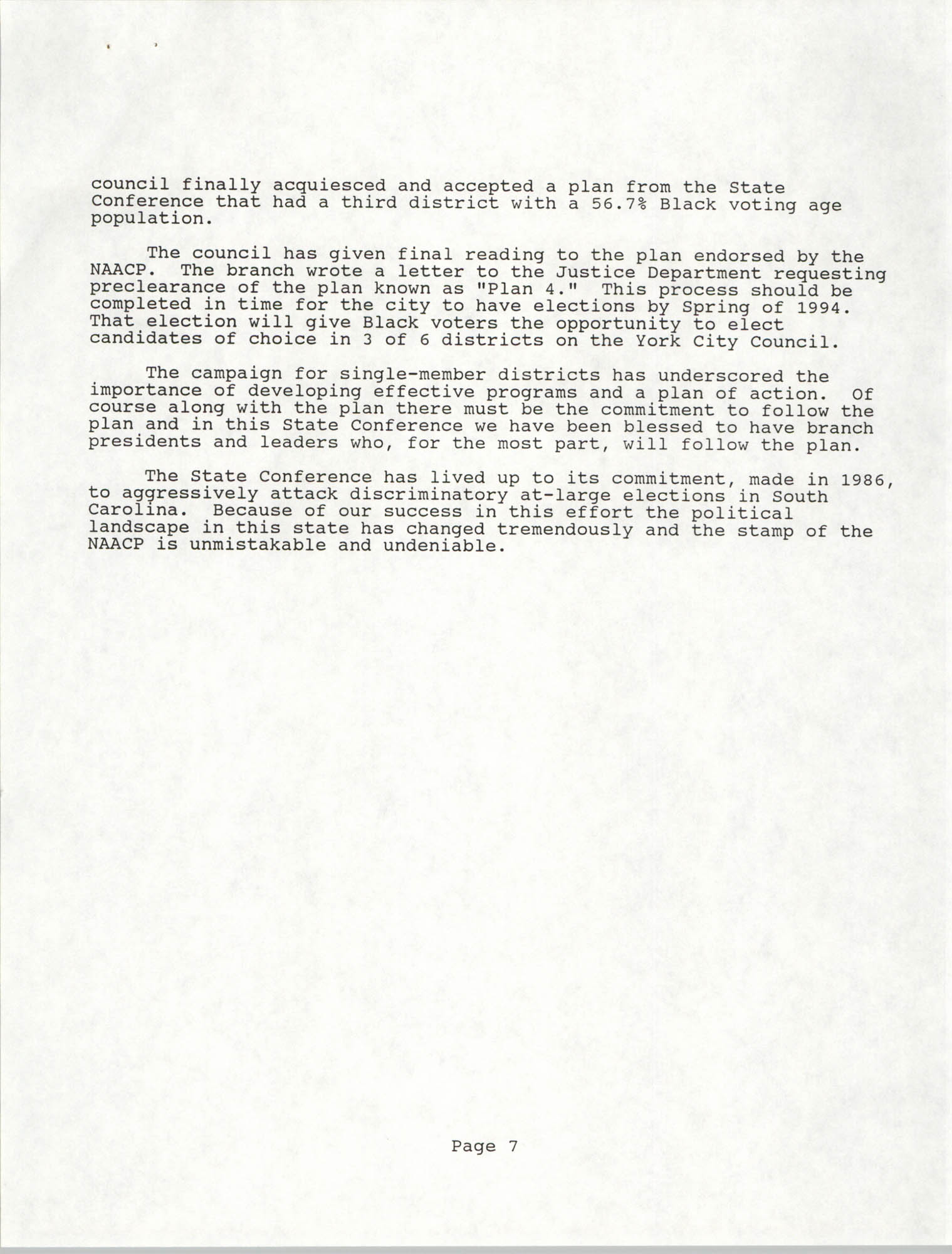 South Carolina Conference of Branches of the NAACP, Annual Report, October 9, 1993, Page 7