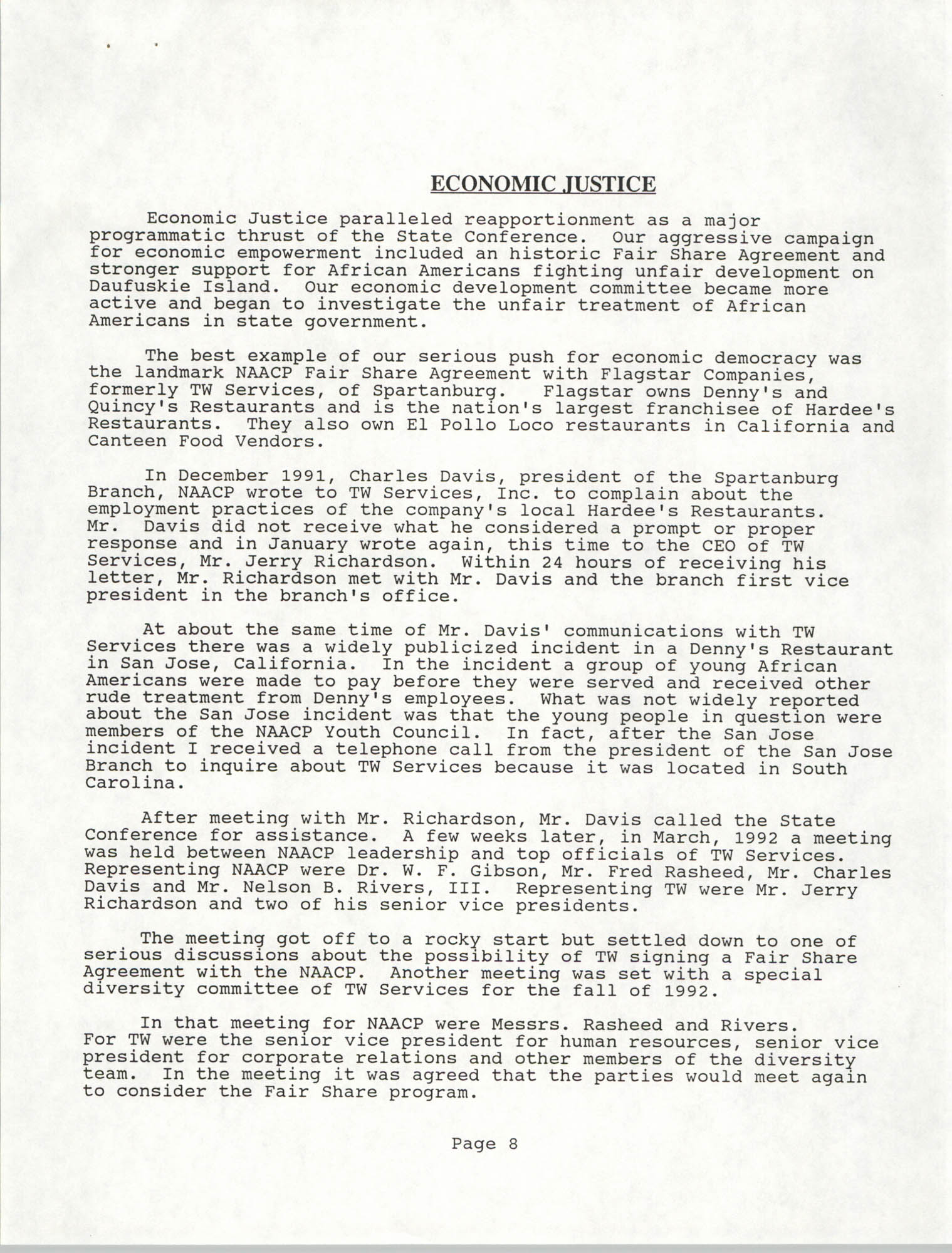 South Carolina Conference of Branches of the NAACP, Annual Report, October 9, 1993, Page 8