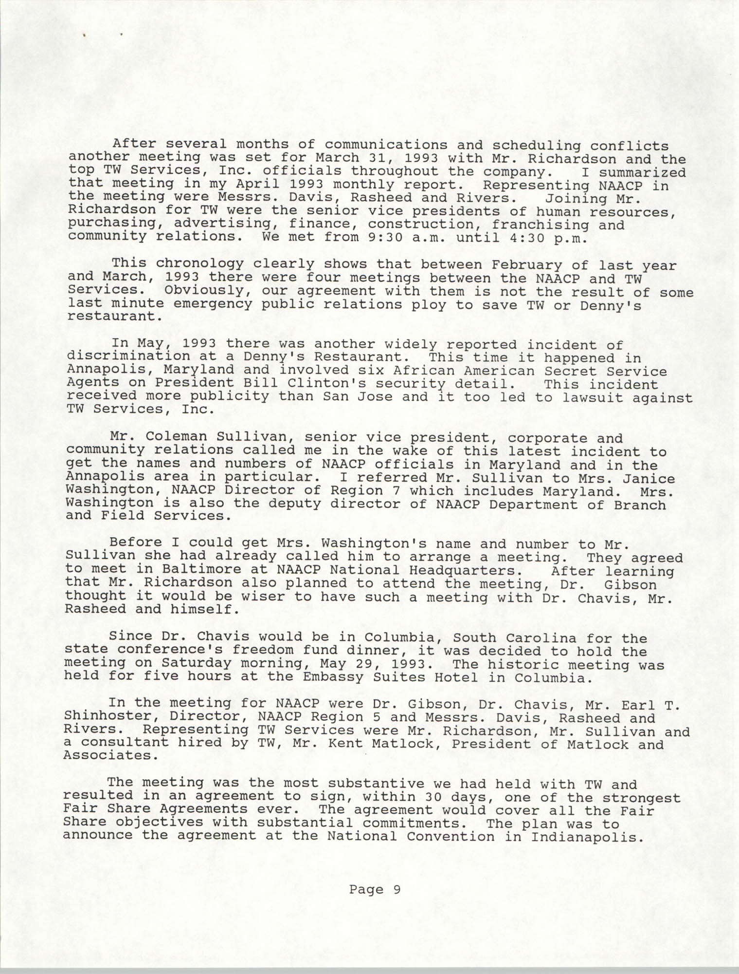 South Carolina Conference of Branches of the NAACP, Annual Report, October 9, 1993, Page 9