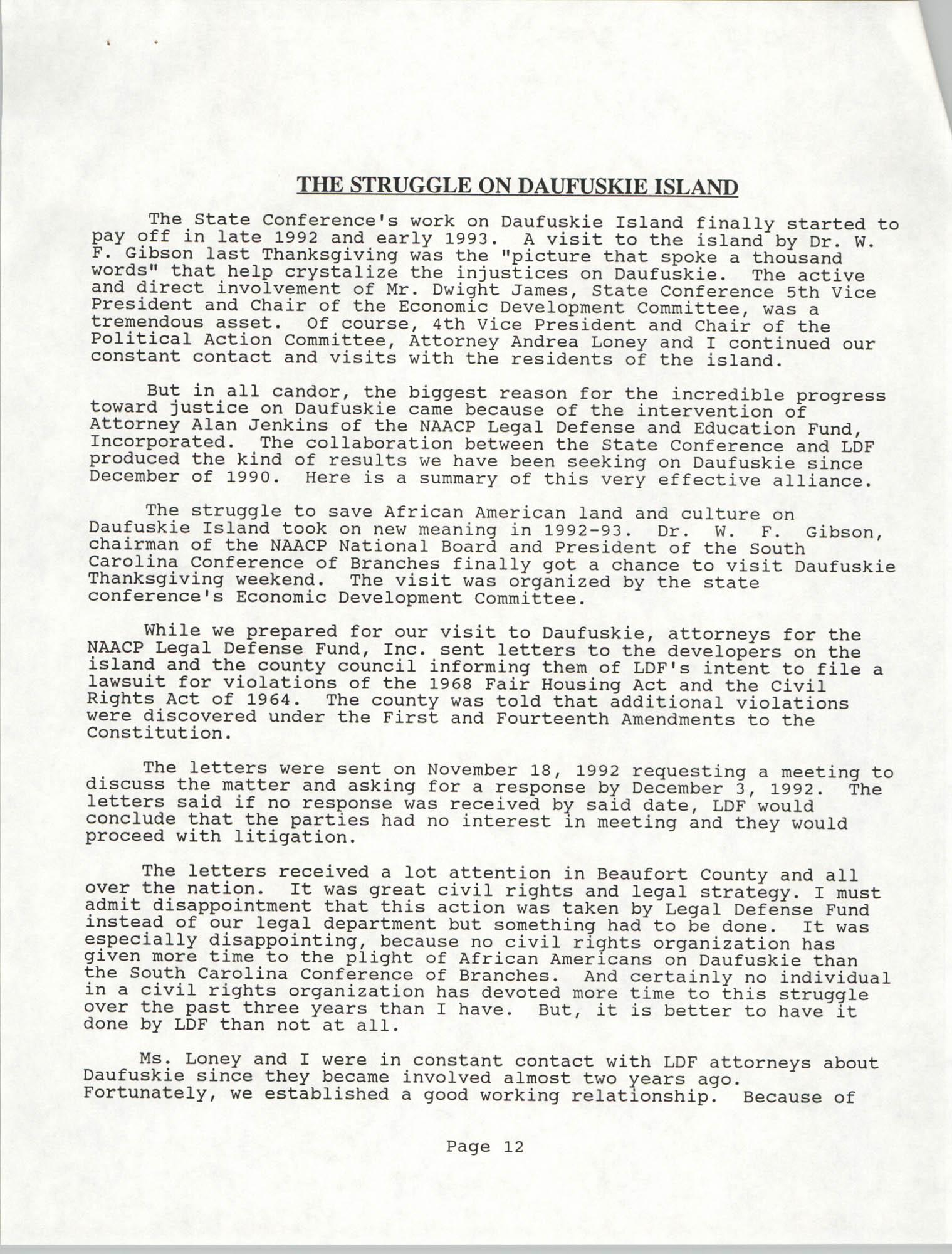 South Carolina Conference of Branches of the NAACP, Annual Report, October 9, 1993, Page 12