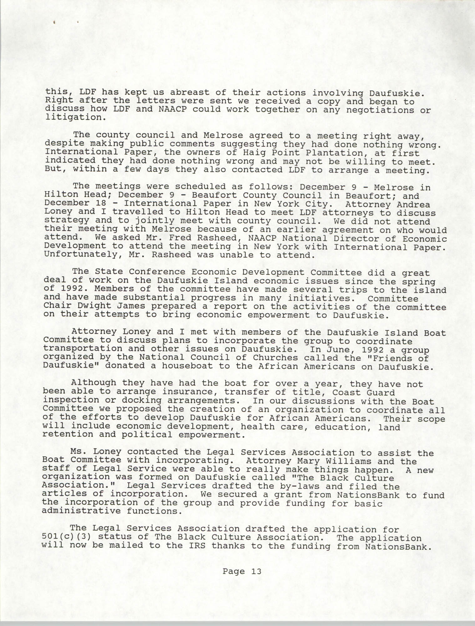 South Carolina Conference of Branches of the NAACP, Annual Report, October 9, 1993, Page 13