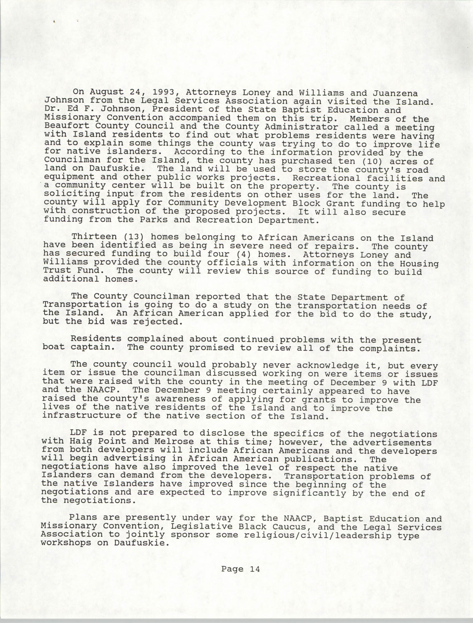South Carolina Conference of Branches of the NAACP, Annual Report, October 9, 1993, Page 14
