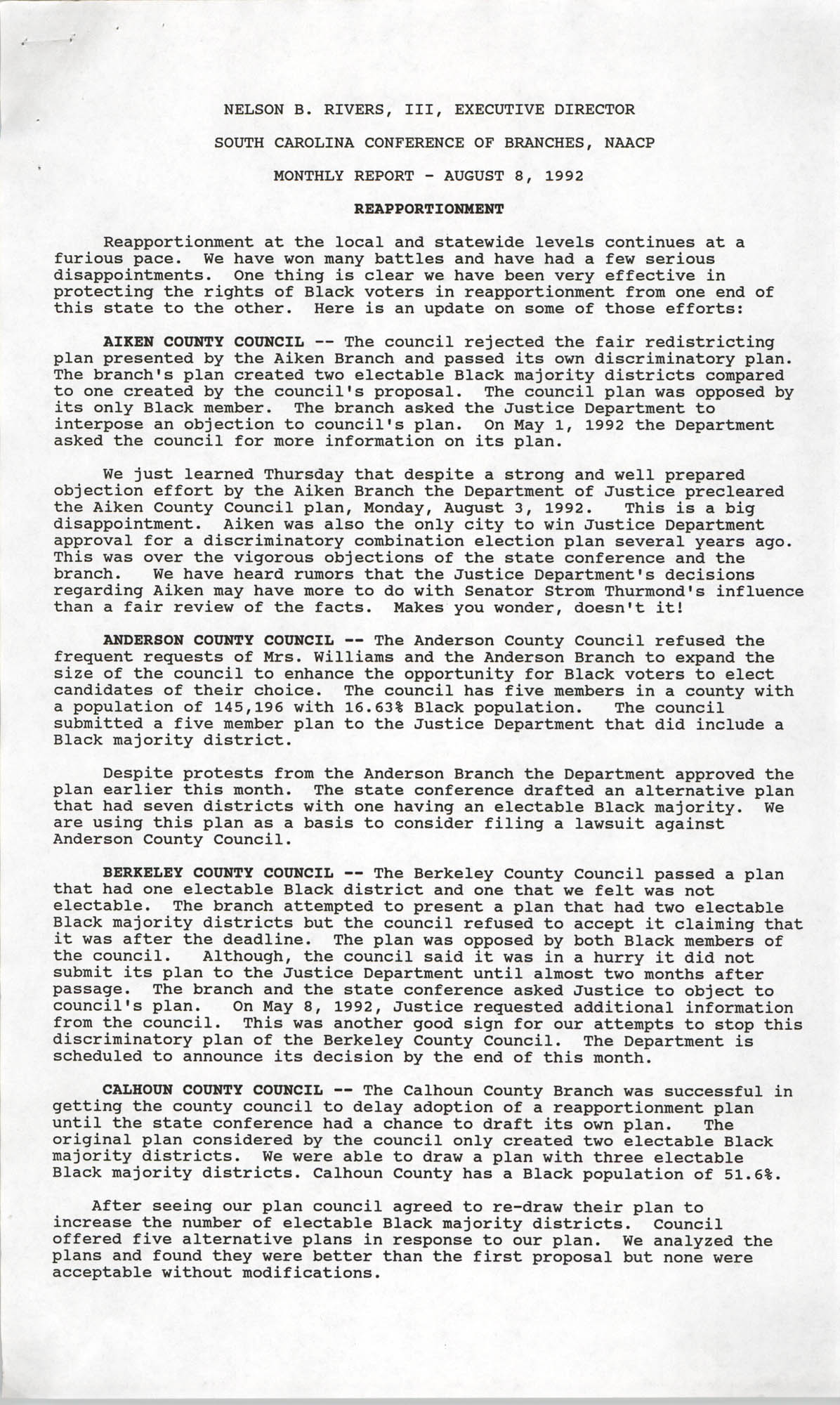 South Carolina Conference of Branches, NAACP Monthly Report, August 8, 1992, Page 1
