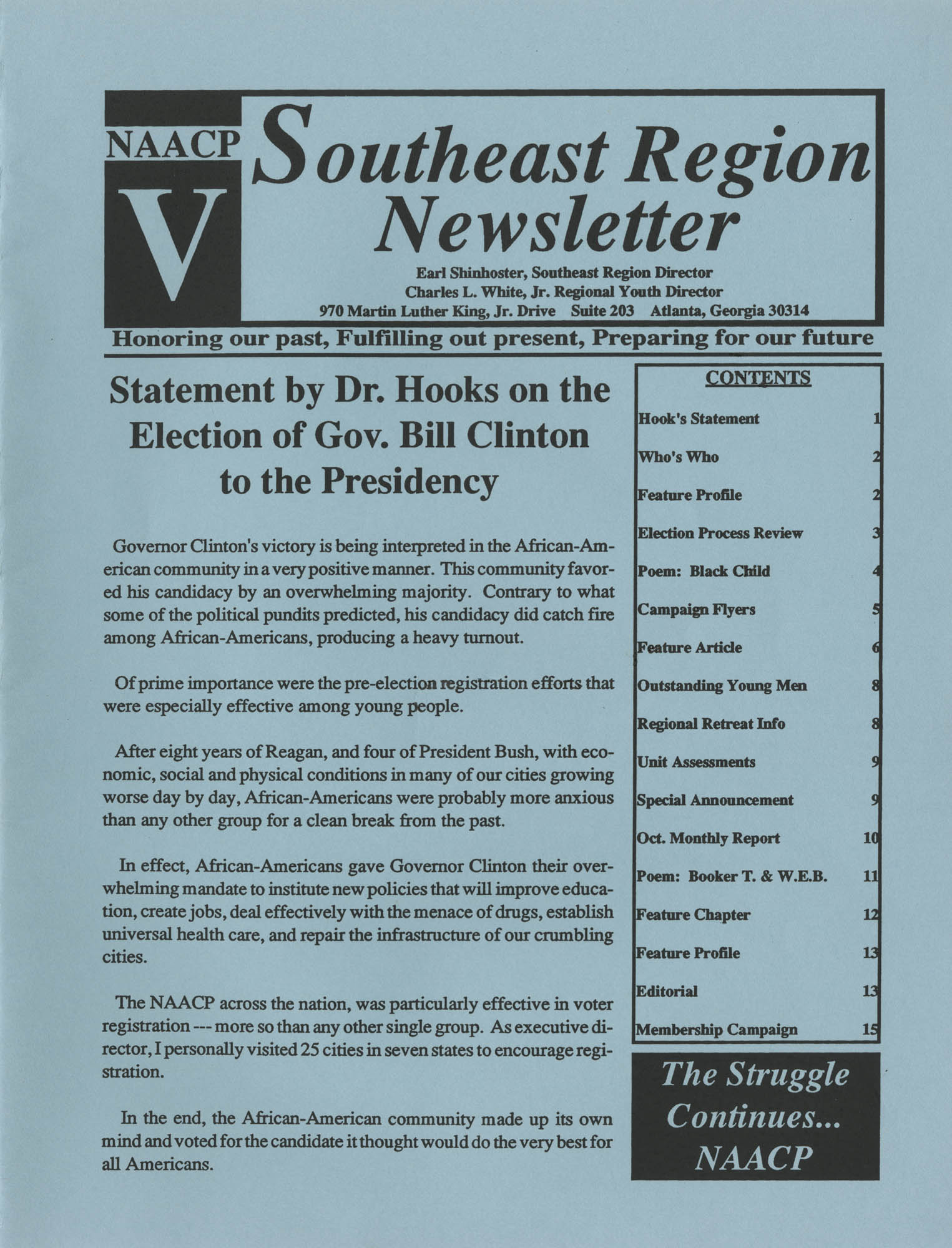 NAACP V, Southeast Region Newsletter, Page 1
