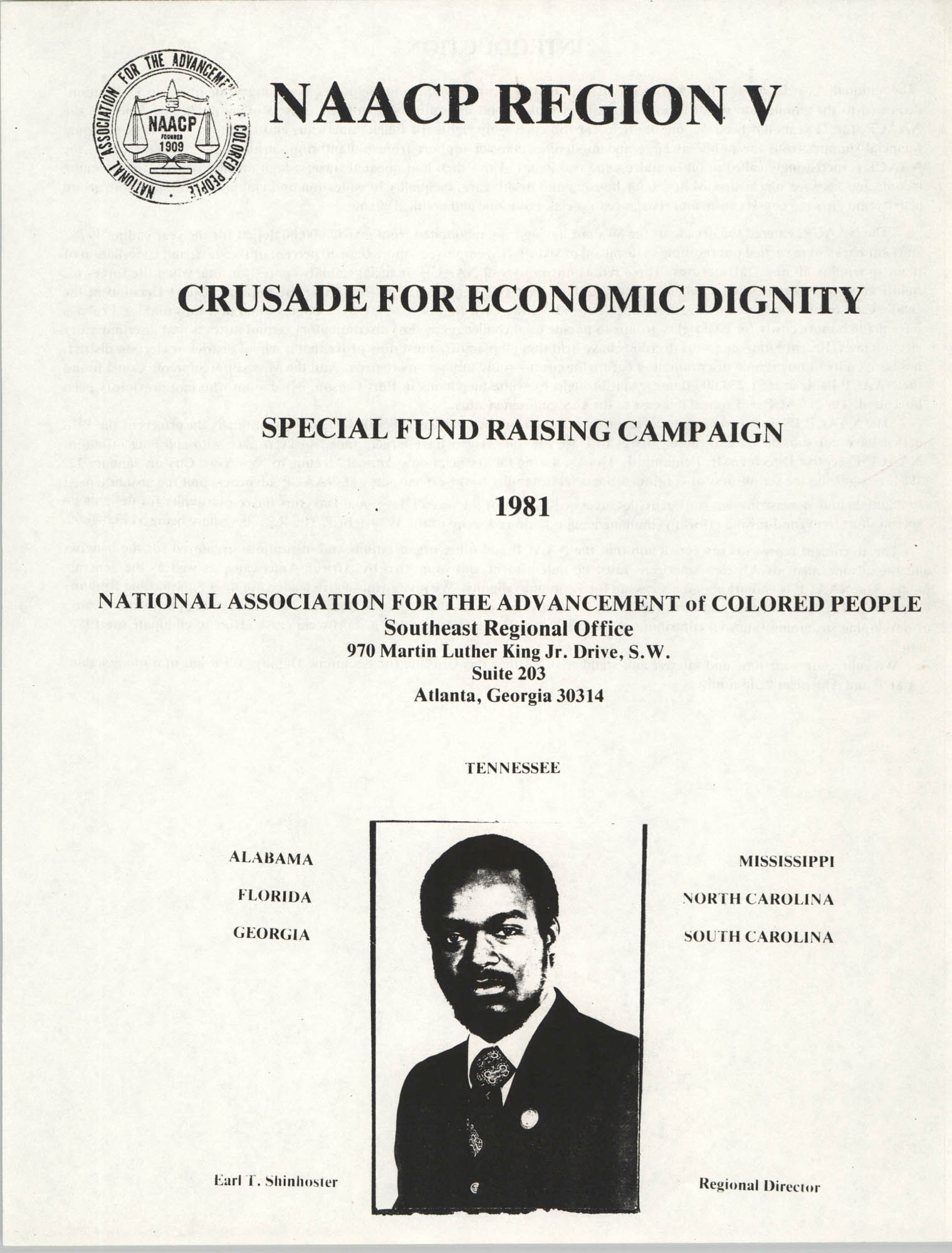 NAACP Region V, Crusade for Economic Dignity, Special Fund Raising Campaign, 1981, Cover