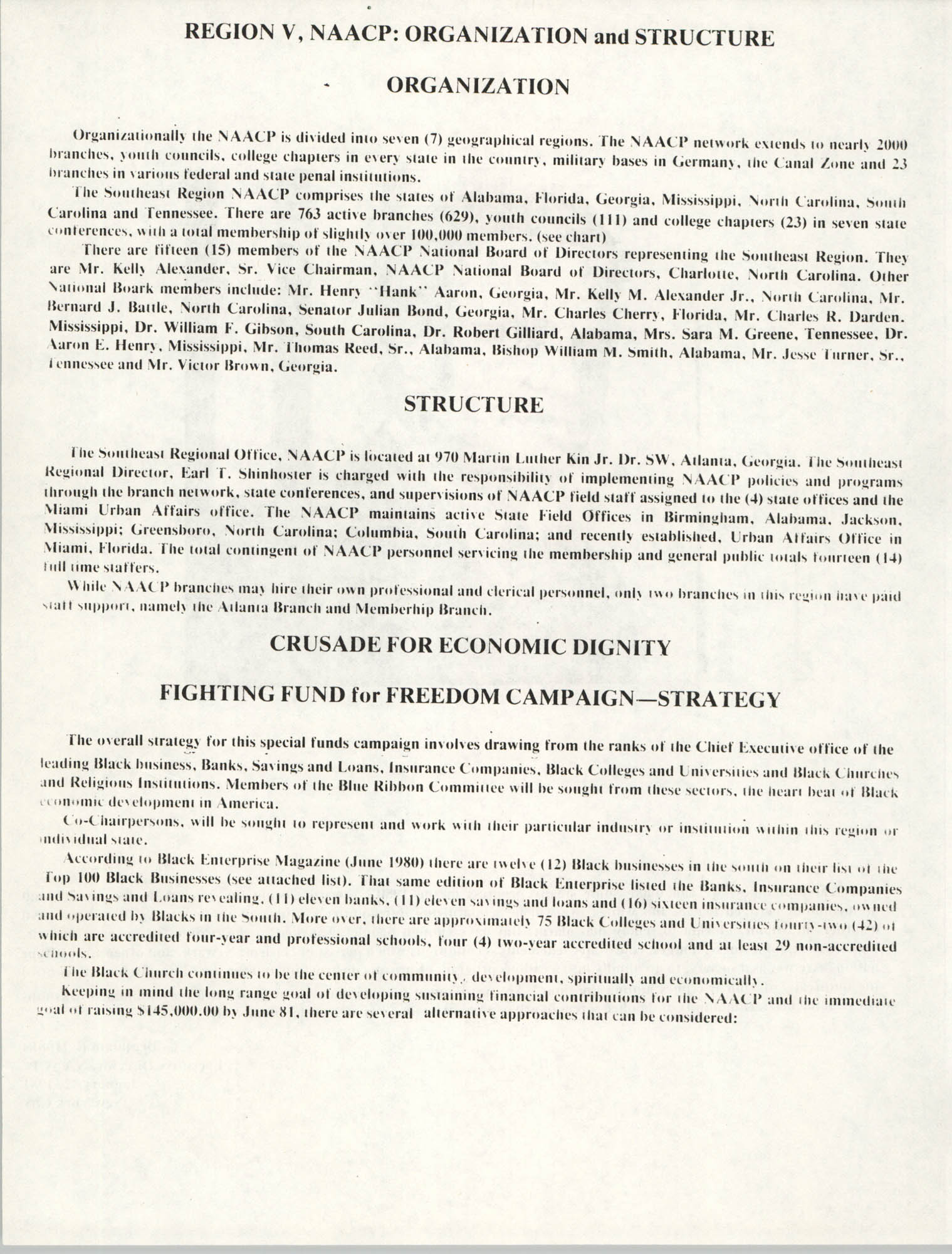 NAACP Region V, Crusade for Economic Dignity, Special Fund Raising Campaign, 1981, Page 2