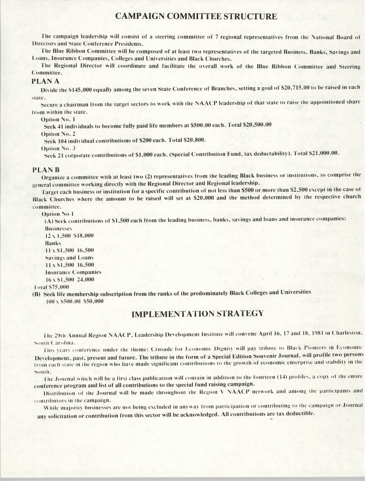 NAACP Region V, Crusade for Economic Dignity, Special Fund Raising Campaign, 1981, Page 4