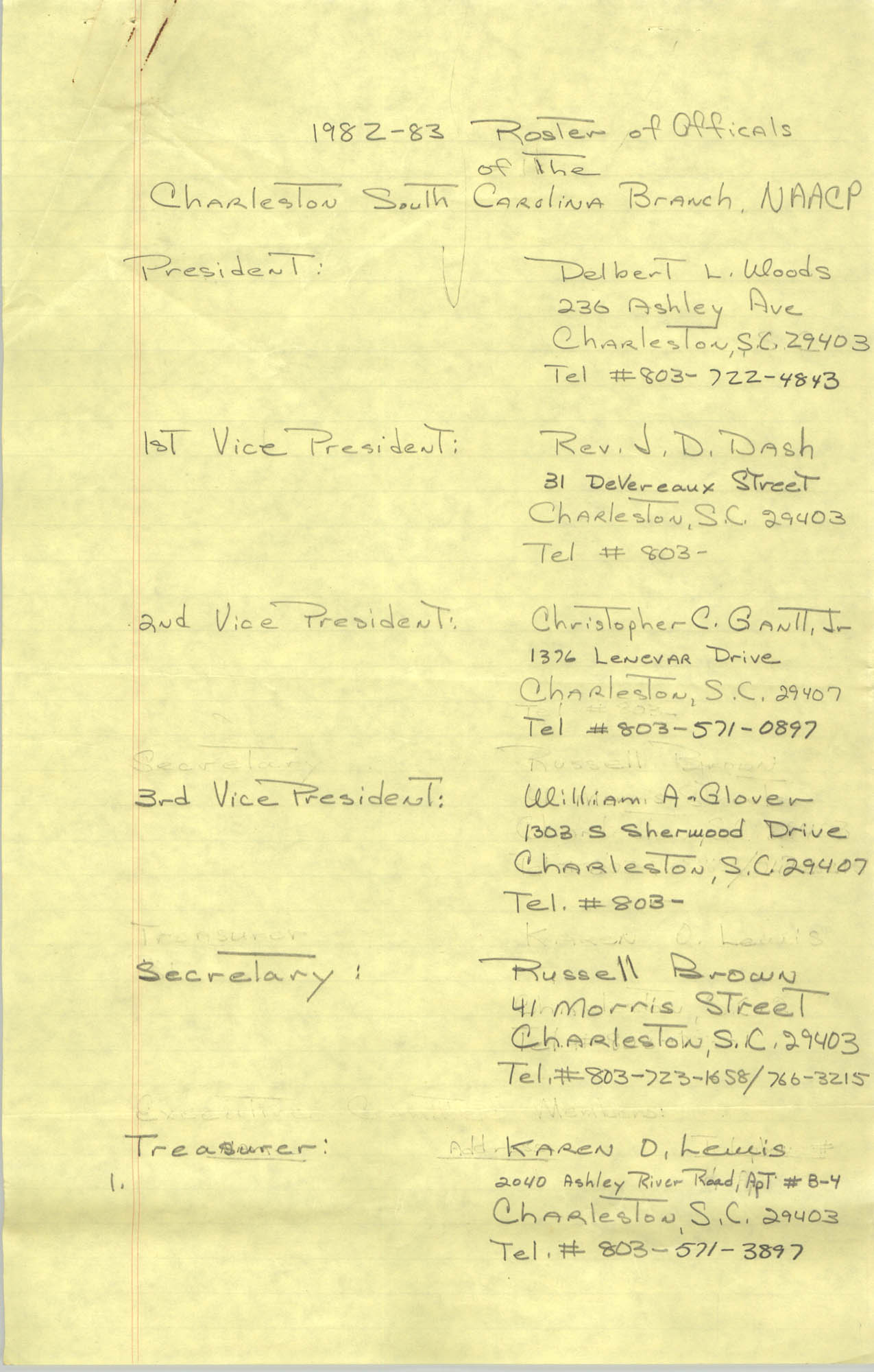 1982-83 Roster of Officials of the Charleston, South Carolina Branch of the NAACP, Page 1