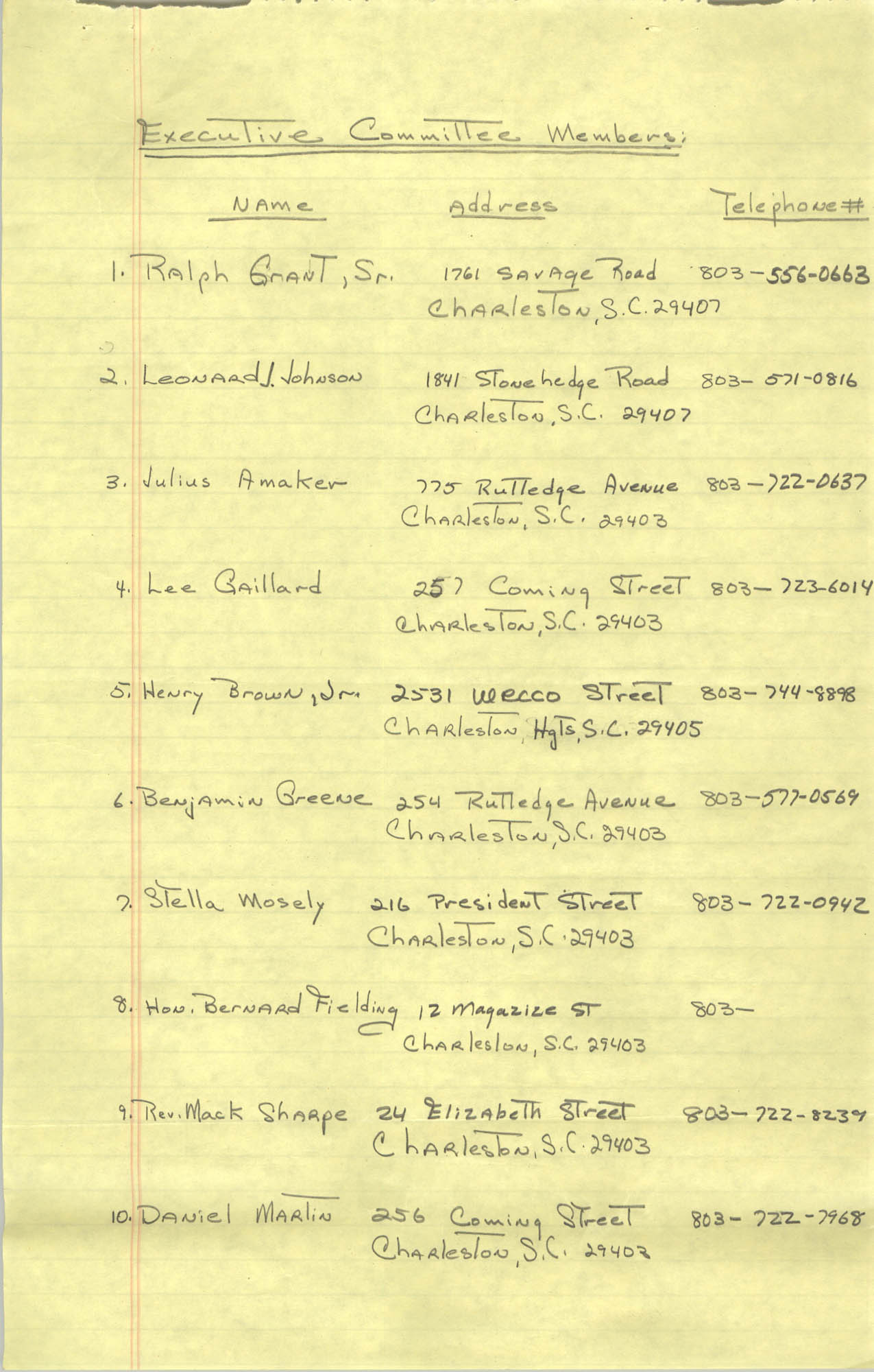 1982-83 Roster of Officials of the Charleston, South Carolina Branch of the NAACP, Page 2
