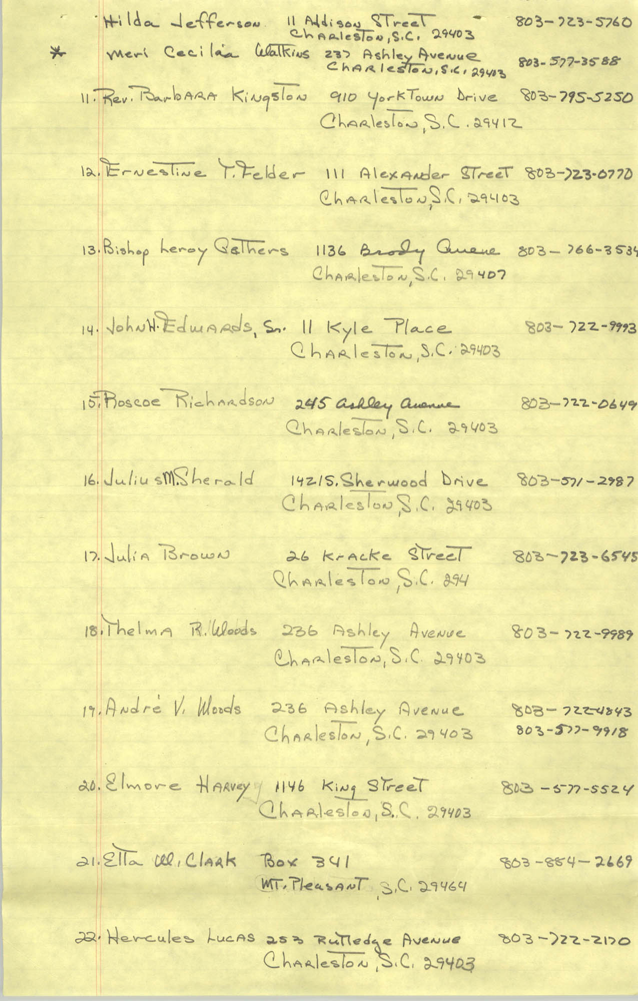 1982-83 Roster of Officials of the Charleston, South Carolina Branch of the NAACP, Page 3