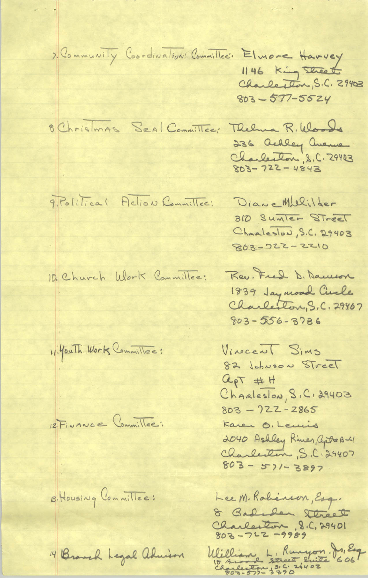 1982-83 Roster of Officials of the Charleston, South Carolina Branch of the NAACP, Page 5