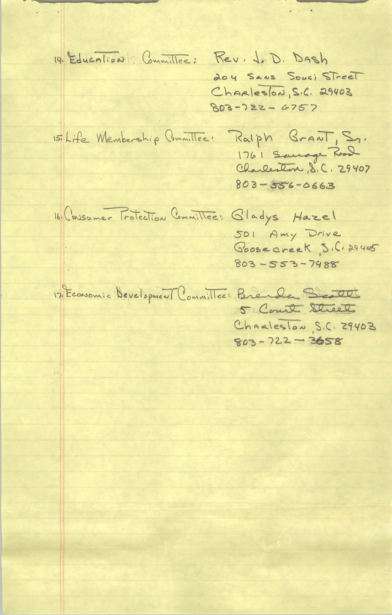 1982-83 Roster of Officials of the Charleston, South Carolina Branch of the NAACP, Page 6