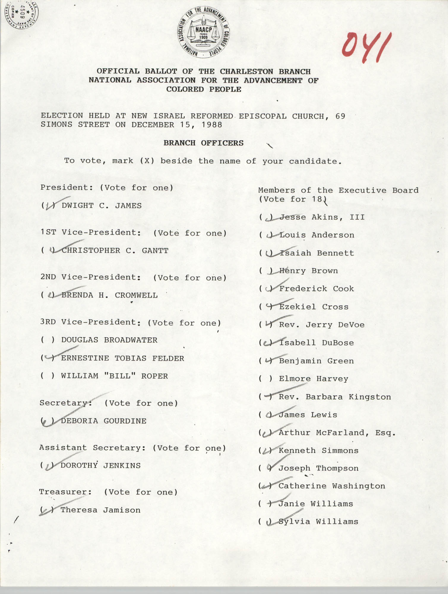 Official Ballot of the Charleston Branch of the NAACP, 041