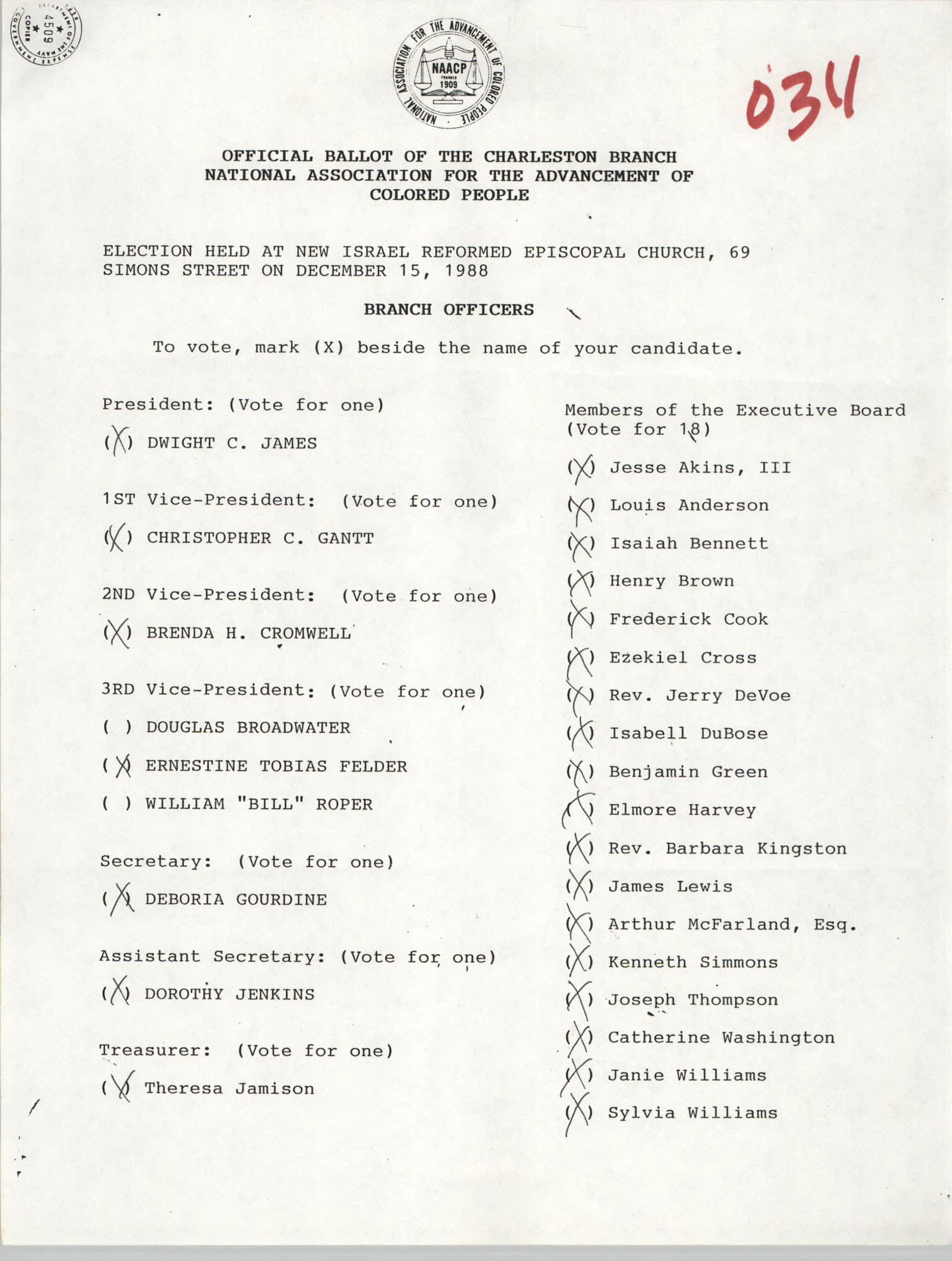 Official Ballot of the Charleston Branch of the NAACP, 034