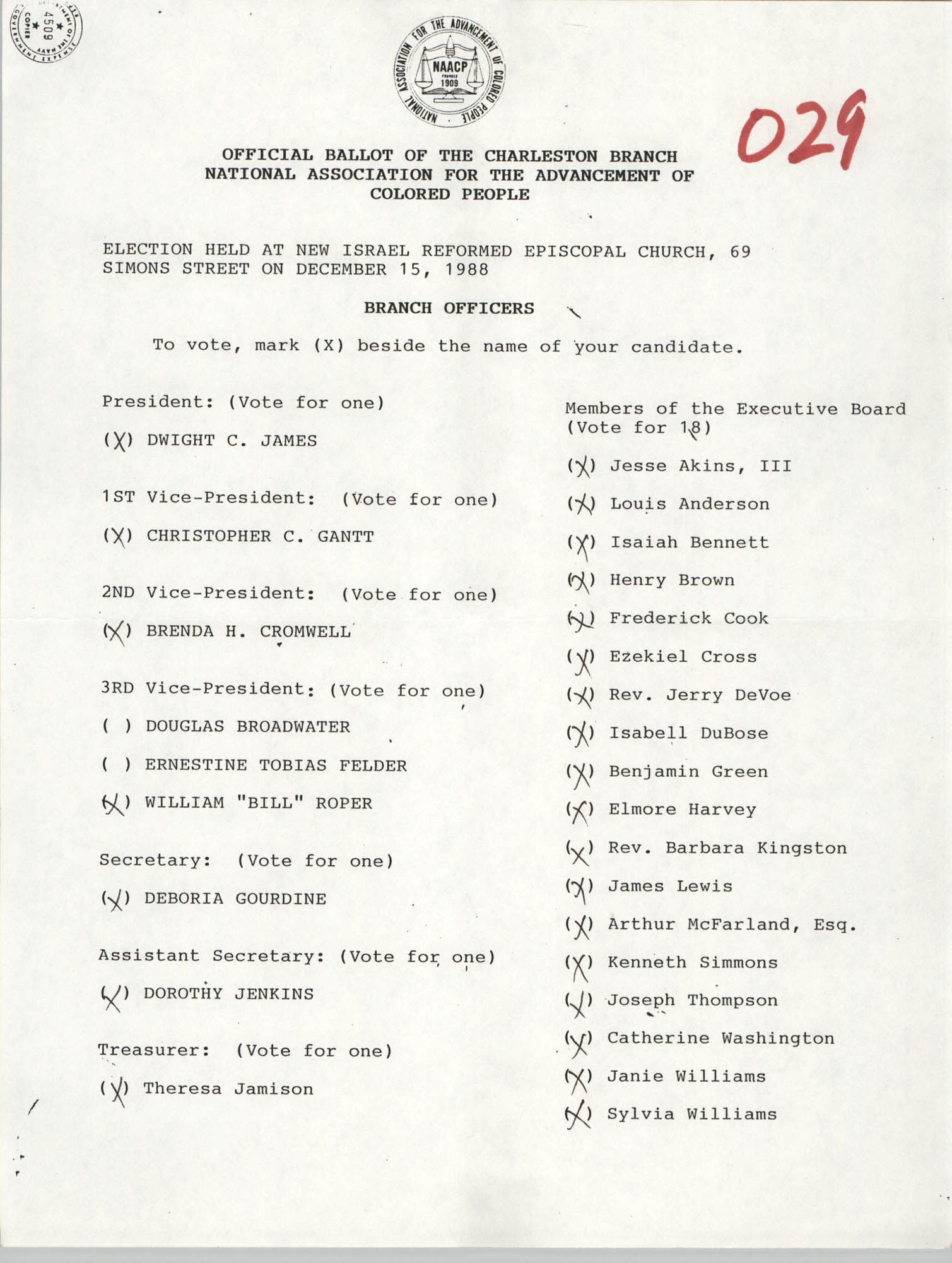 Official Ballot of the Charleston Branch of the NAACP, 029