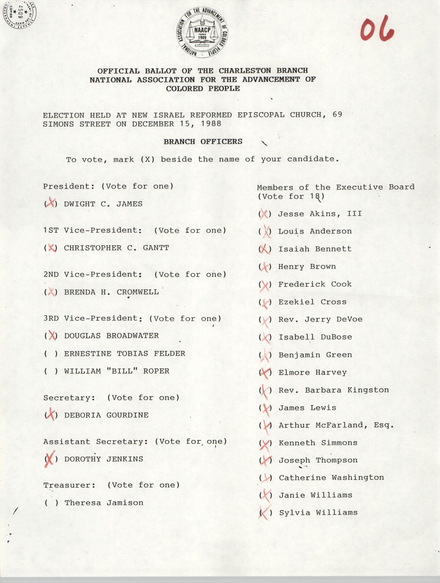 Official Ballot of the Charleston Branch of the NAACP, 06