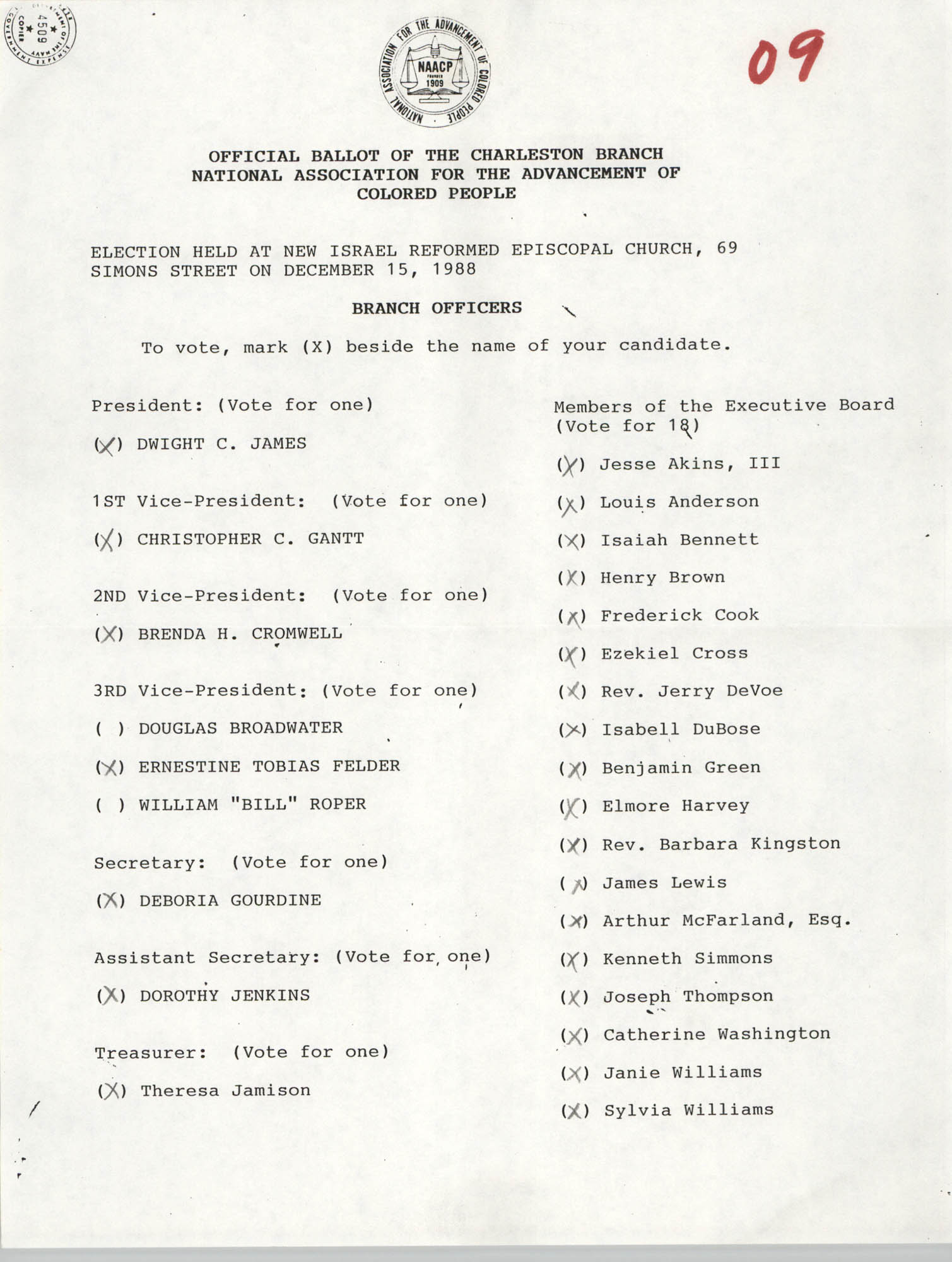 Official Ballot of the Charleston Branch of the NAACP, 09