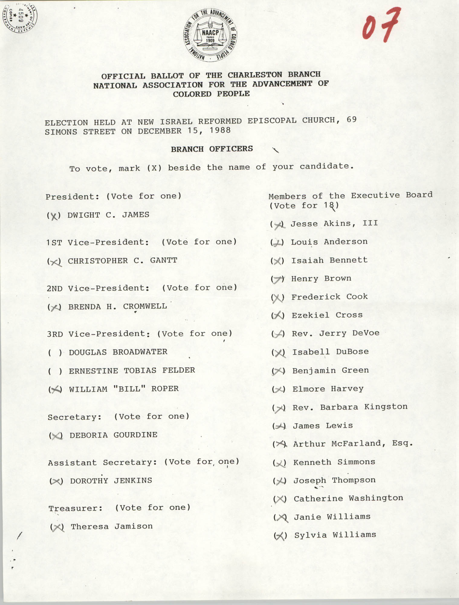 Official Ballot of the Charleston Branch of the NAACP, 07